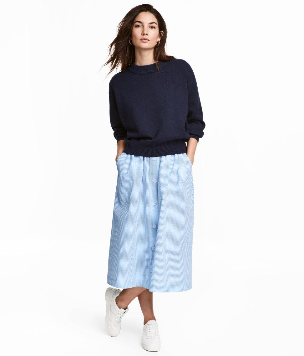 h m seersucker skirt in blue lyst