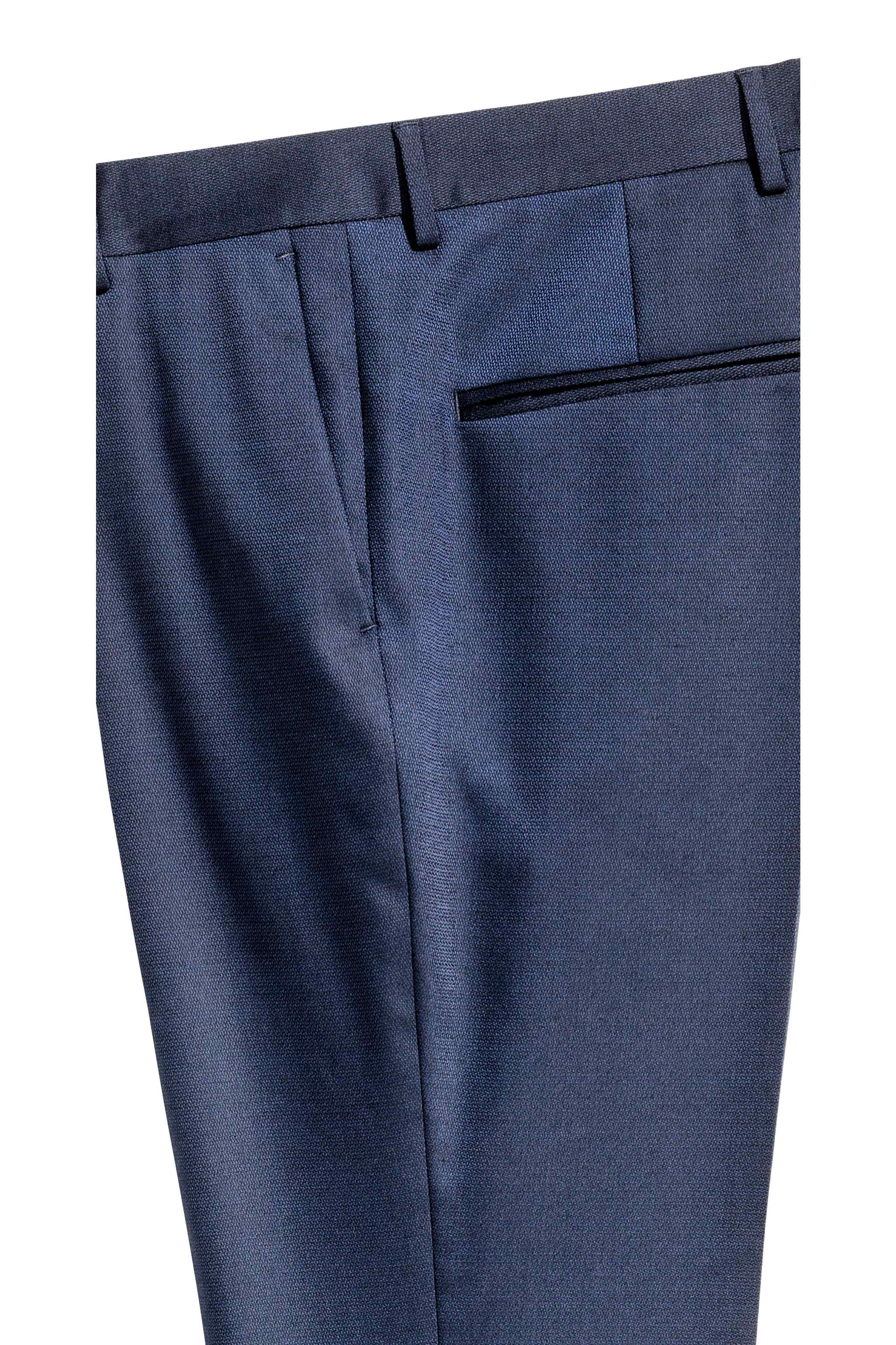 H&M Synthetic Suit Trousers Slim Fit in Navy Blue (Blue) for Men