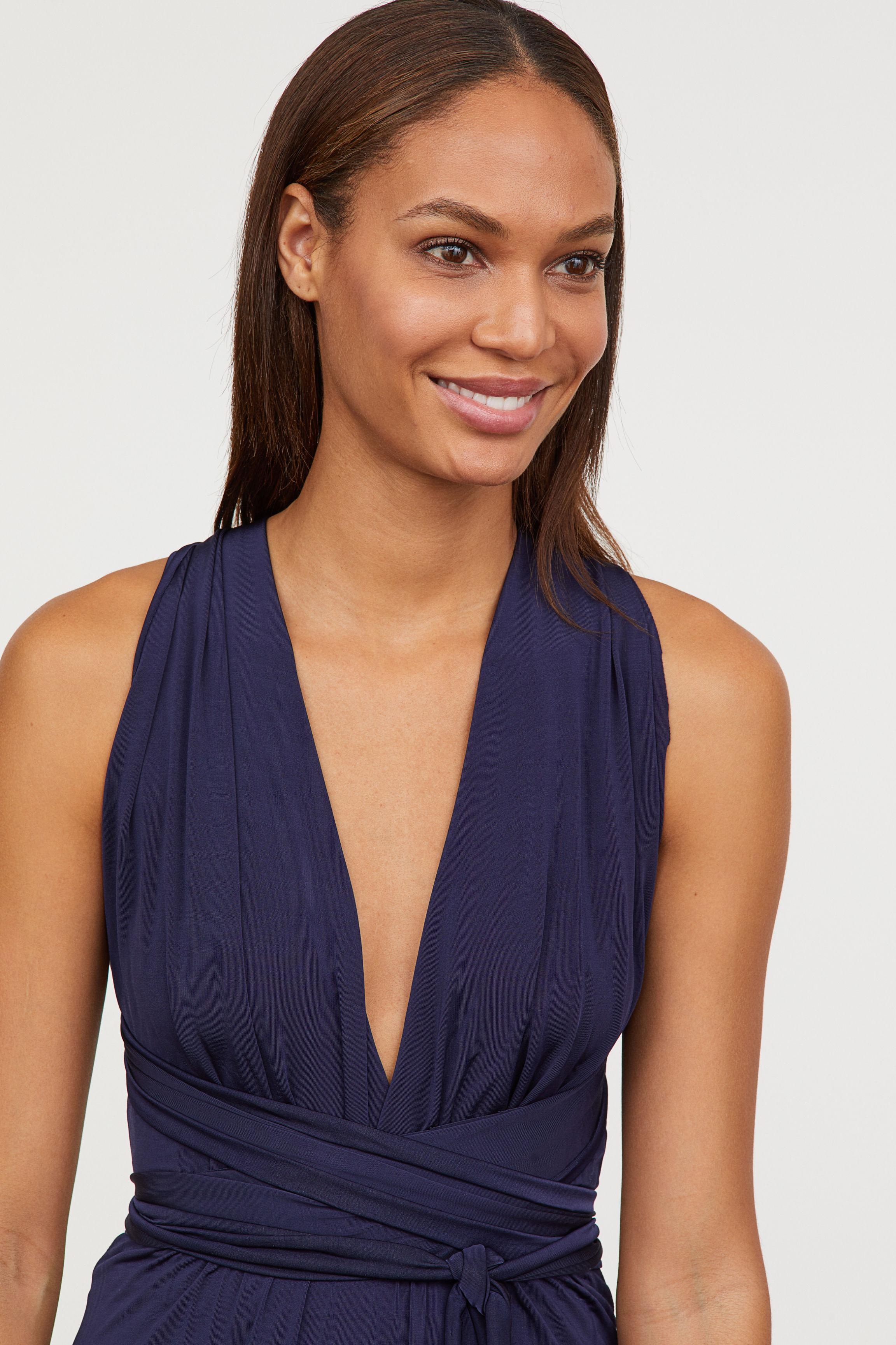 H&M Synthetic Multiway Long Dress in Dark Blue (Blue)