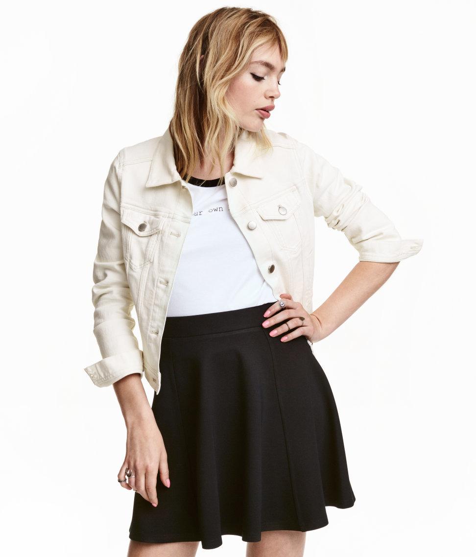 h m denim jacket in white lyst