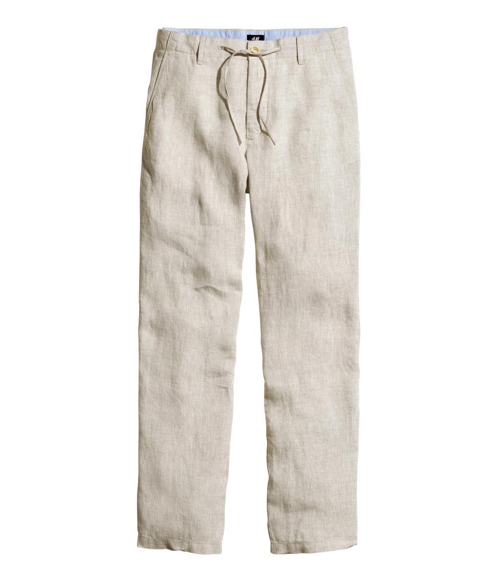 H m linen trousers in natural for men lyst - Hm herren jeans ...
