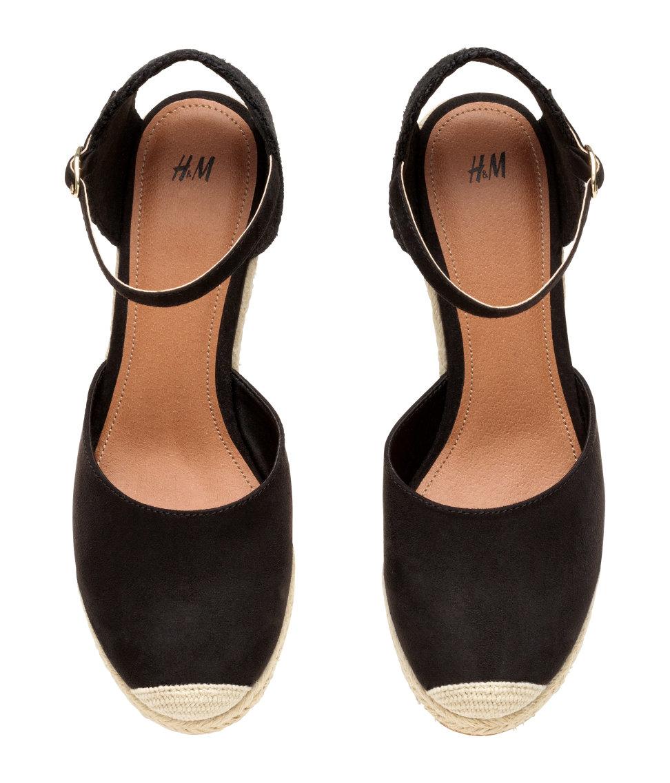 490a1378082 H&M Black Wedge Heel Espadrilles
