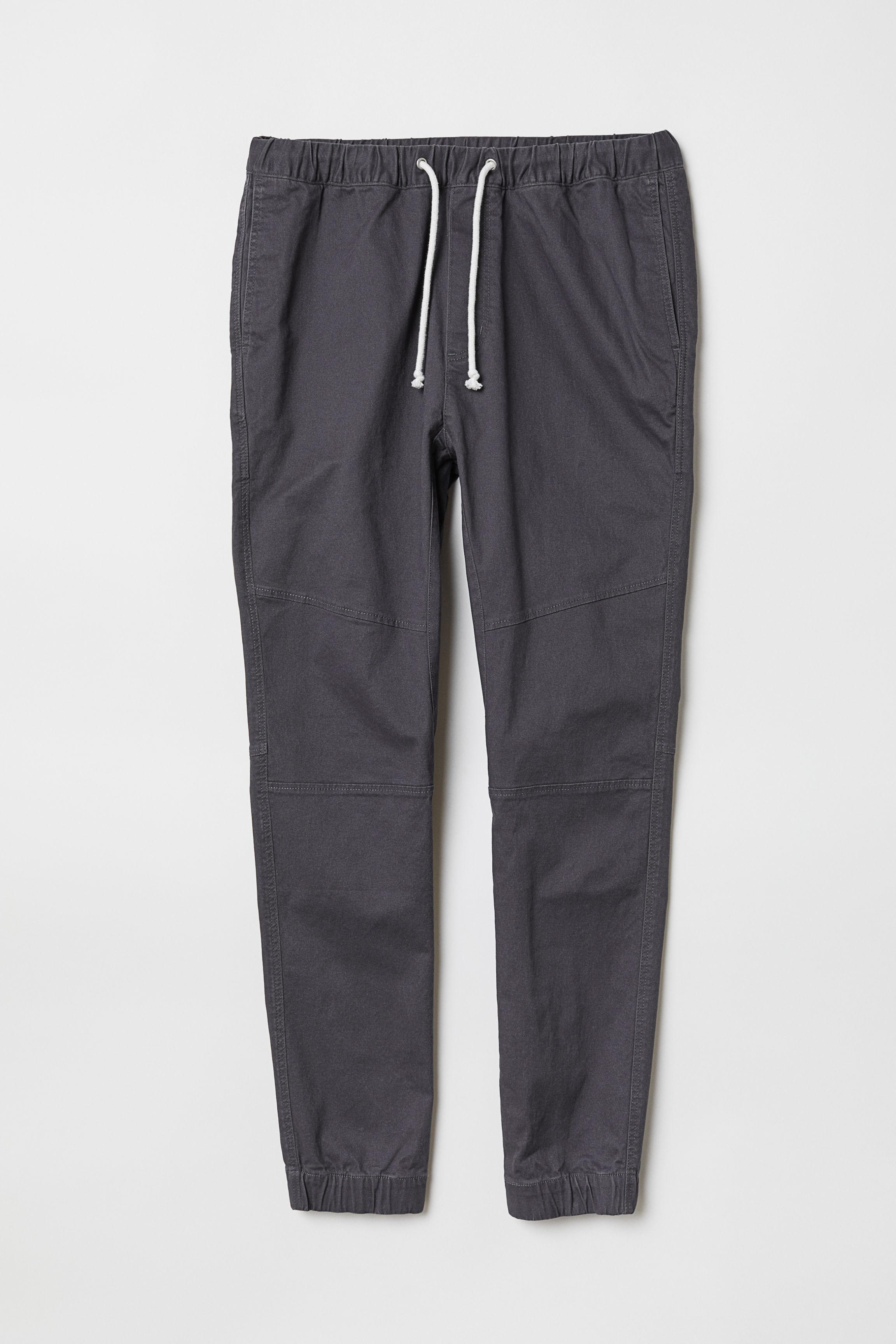 H&M Cotton Twill joggers in Dark Grey (Grey) for Men