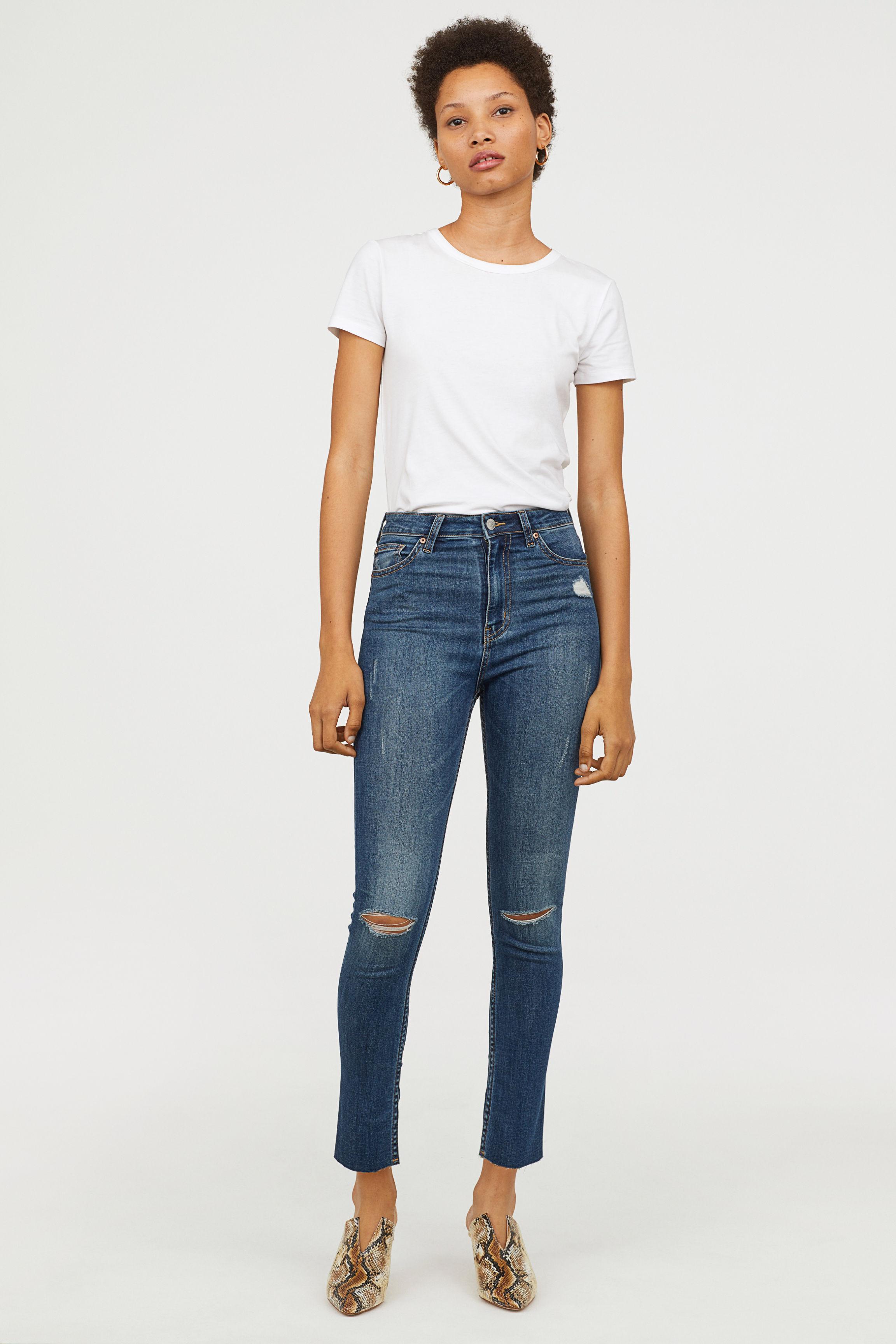 b118e83da26cd H&M Slim High Trashed Jeans in Blue - Lyst