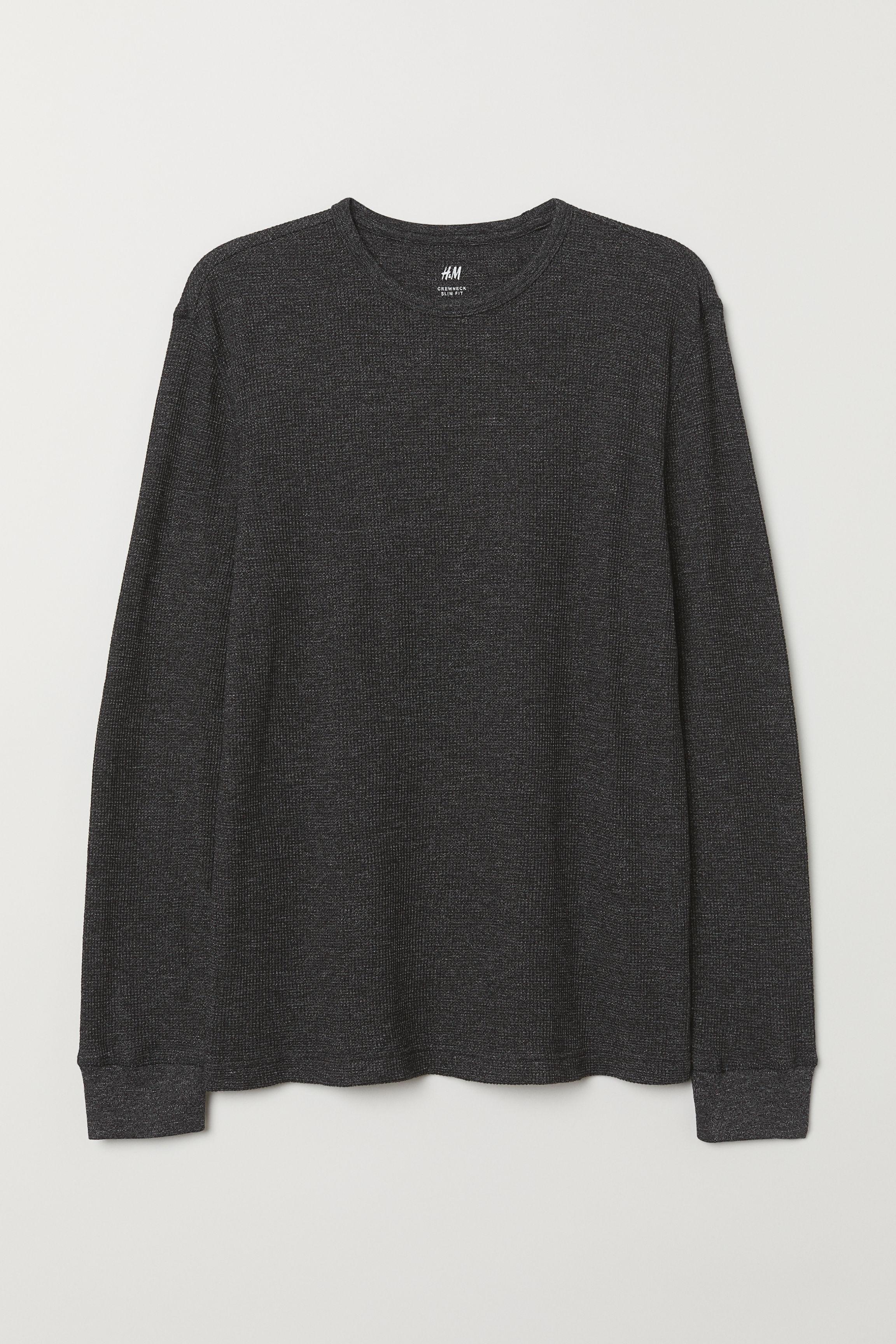 H&M Cotton Waffled Shirt in Black Marl (Black) for Men