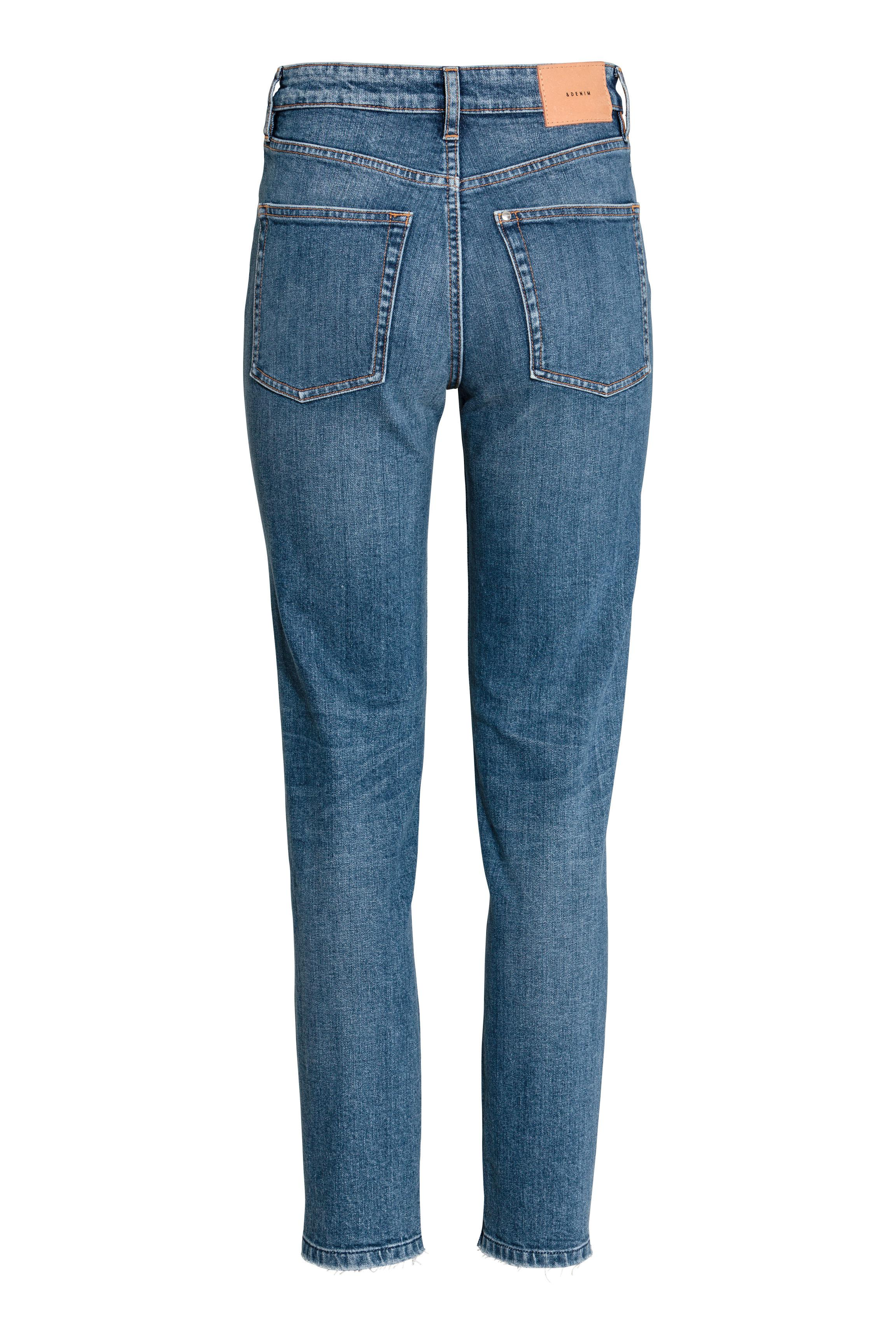 H&M Denim Vintage High Cropped Jeans in Dark Denim Blue (Blue)