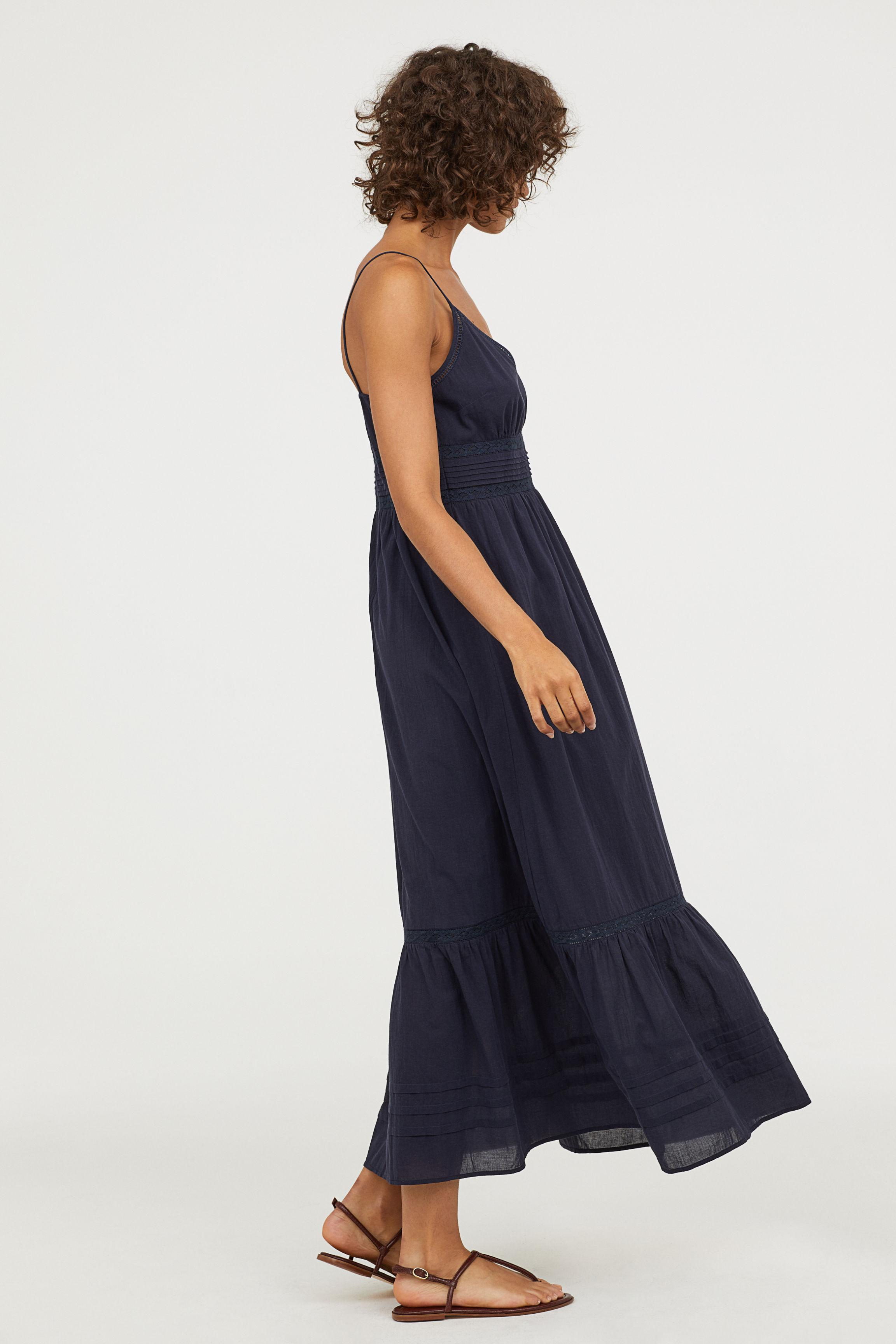 bb84e00cd9 H&M Cotton Long Dress With Lace Details in Blue - Lyst