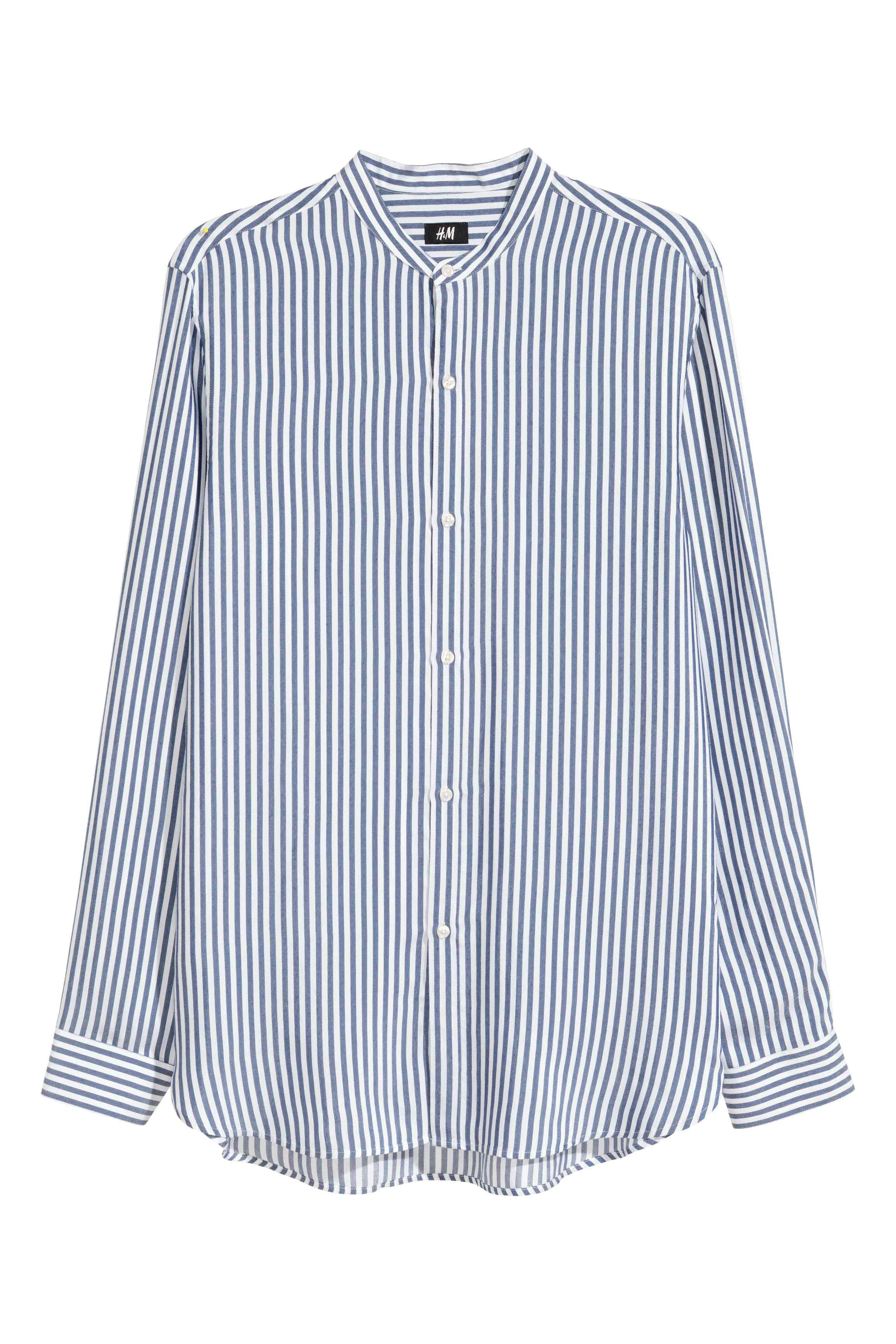 H&M Synthetic Viscose Shirt Slim Fit in White/Blue Striped (Blue) for Men