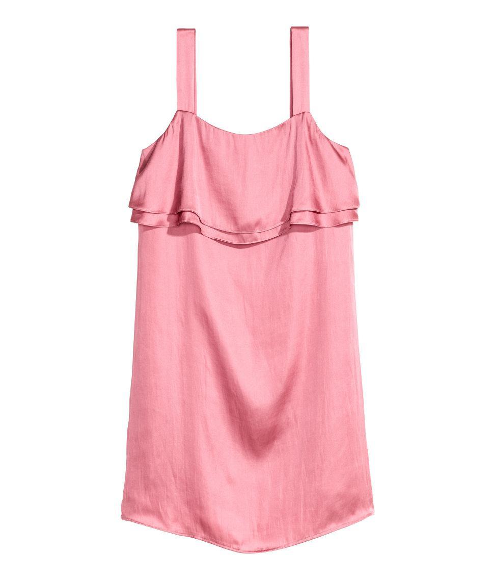 Lyst - H&M Satin Dress in Pink