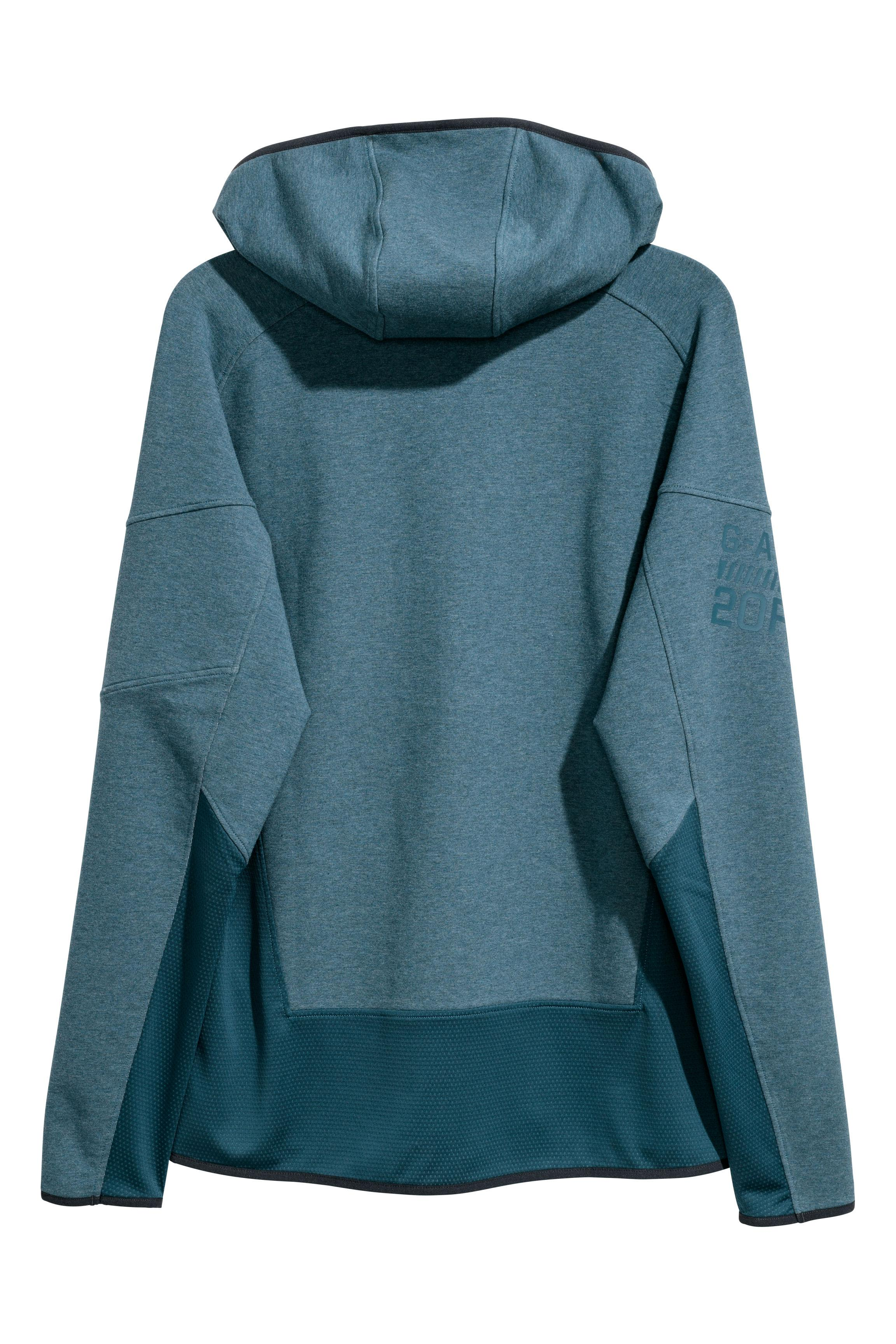 H&M Synthetic Hooded Sports Jacket in Dark Turquoise Marl (Blue) for Men