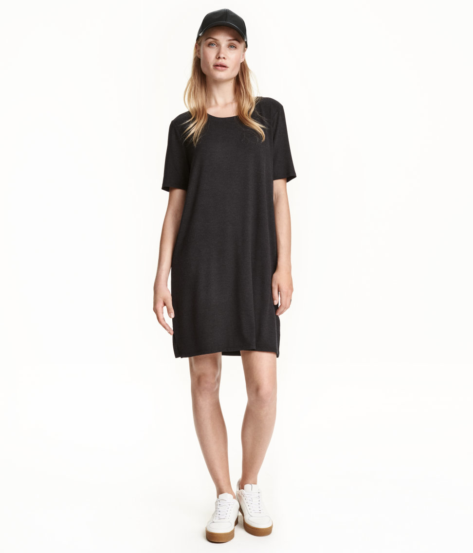 H M T Shirt Dress In Gray Lyst