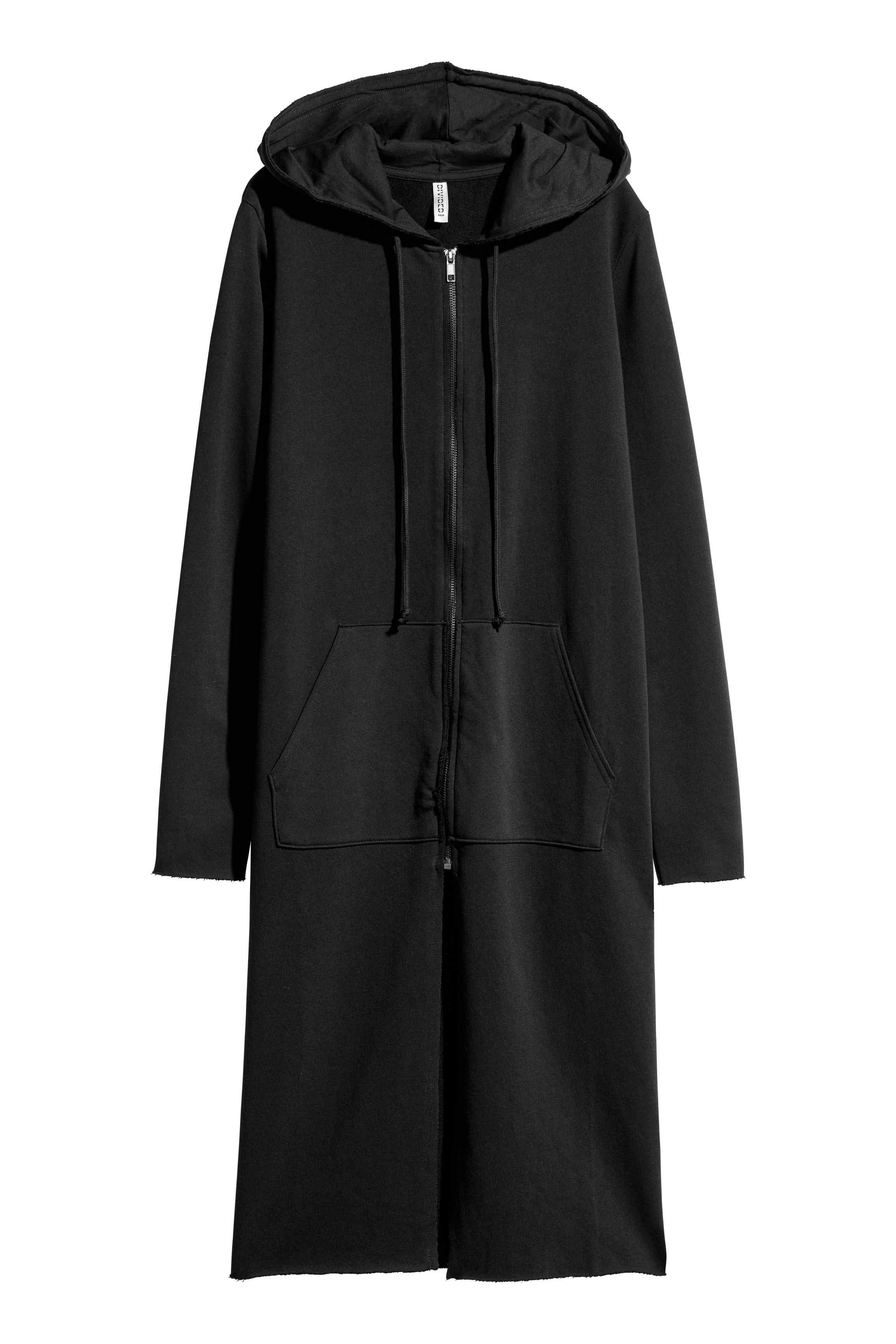 H&m Long Sweatshirt Cardigan in Black | Lyst