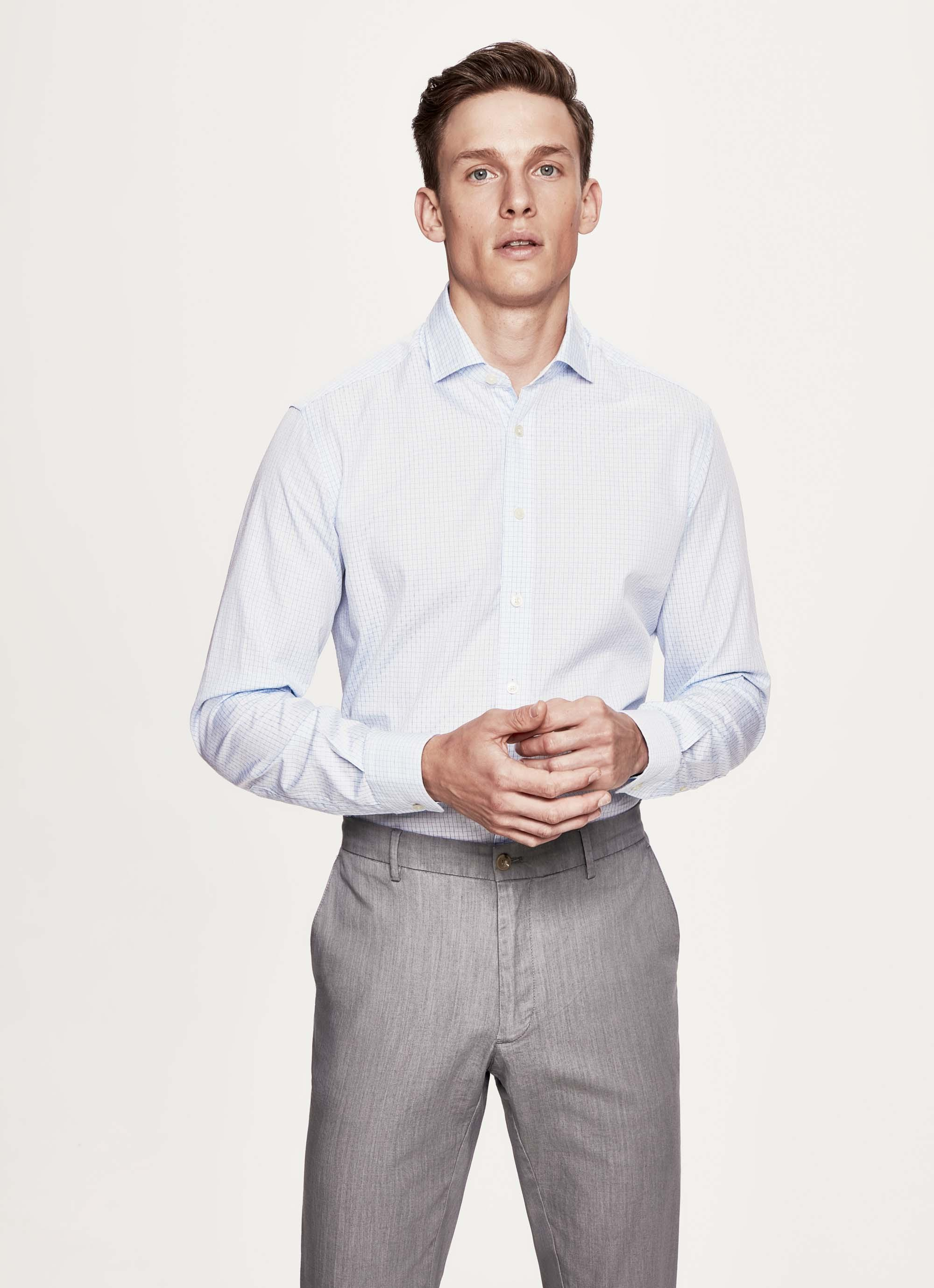 Hackett Graph Check Multi Trim Cotton Shirt in Blue for Men - Lyst bc80002f2155c