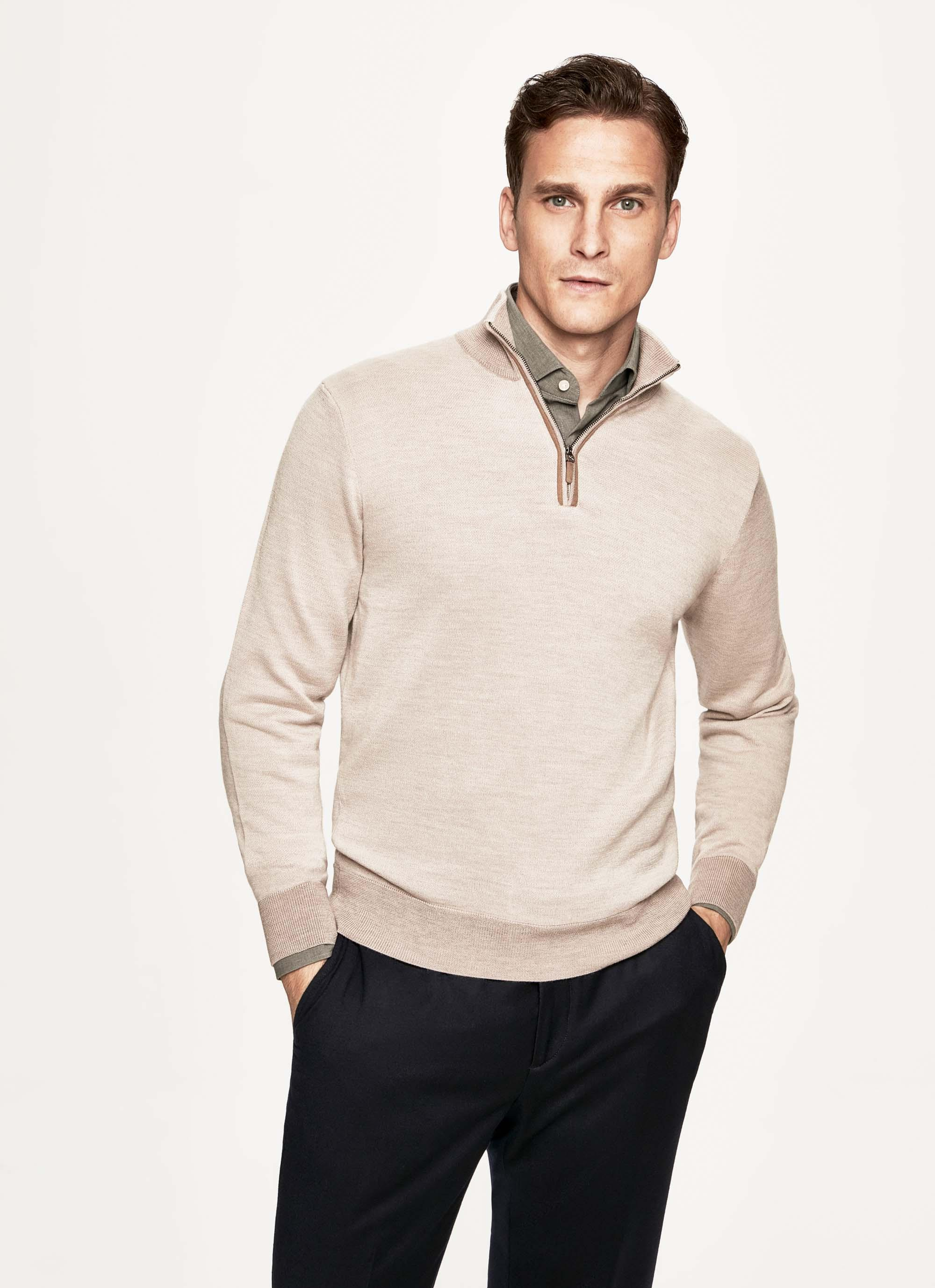 6ef18aff16a7e9 Hackett Textured Knit Wool, Silk And Cashmere Half Zip Sweater in ...