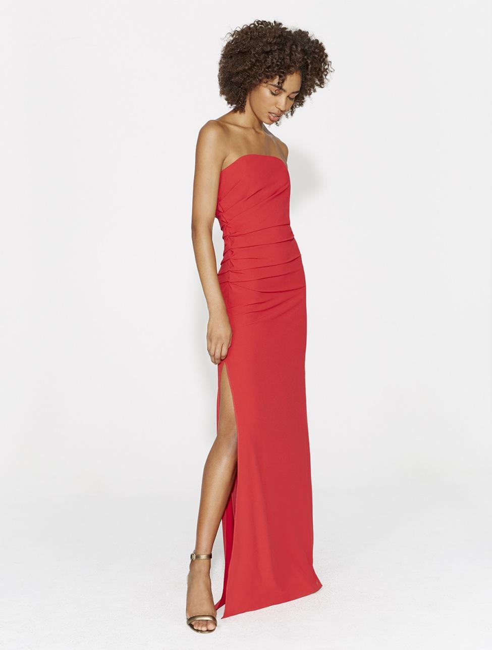 88c937b8a67 Lyst - Halston Strapless Ruched Side Crepe Gown in Red