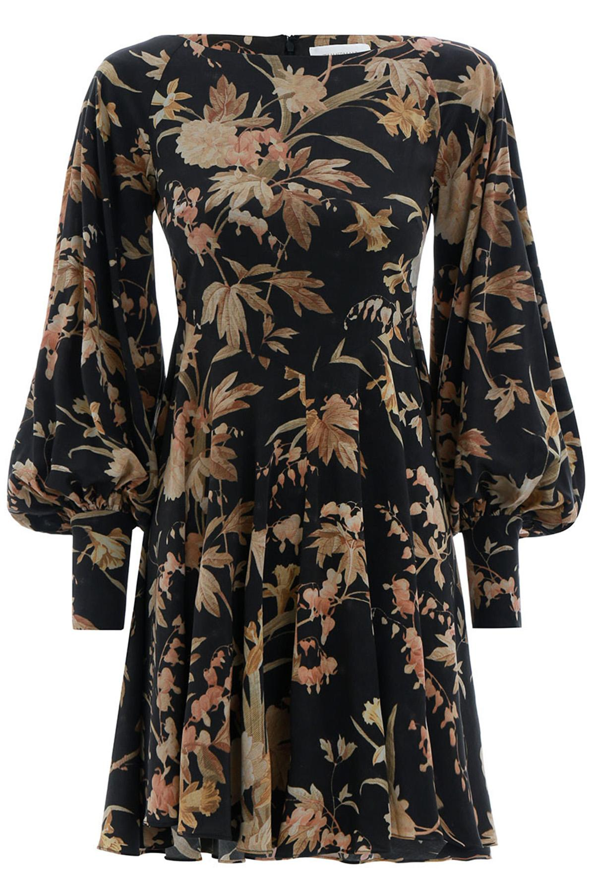 2780ed0583f6b Zimmermann Unbridled Basque Mini Dress In Black Jonquil Floral