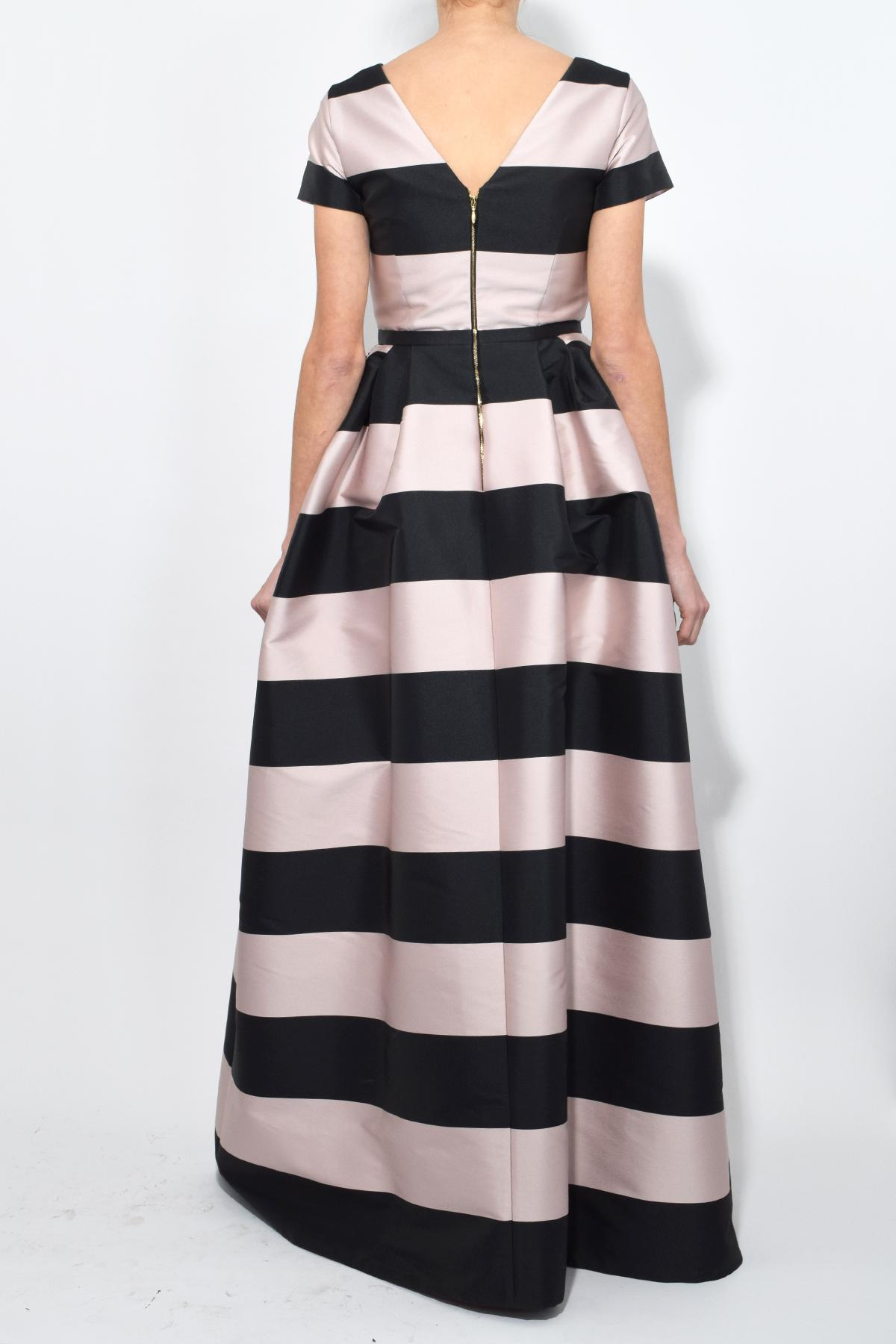 Rochas Synthetic Stripe Gown In Light Pink Black