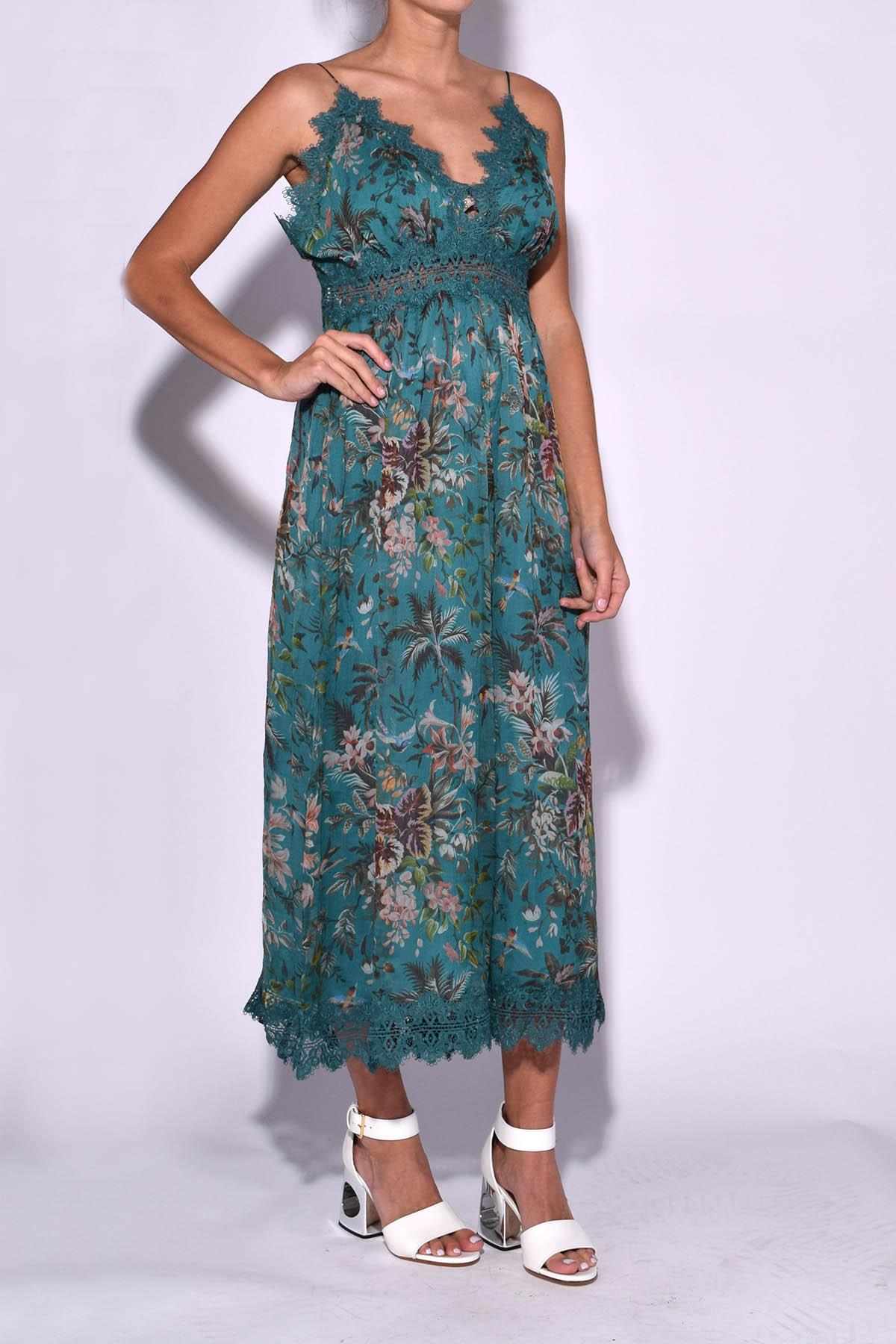 Lyst Zimmermann Tropicale Crinkle Jumpsuit In Teal Floral In Blue