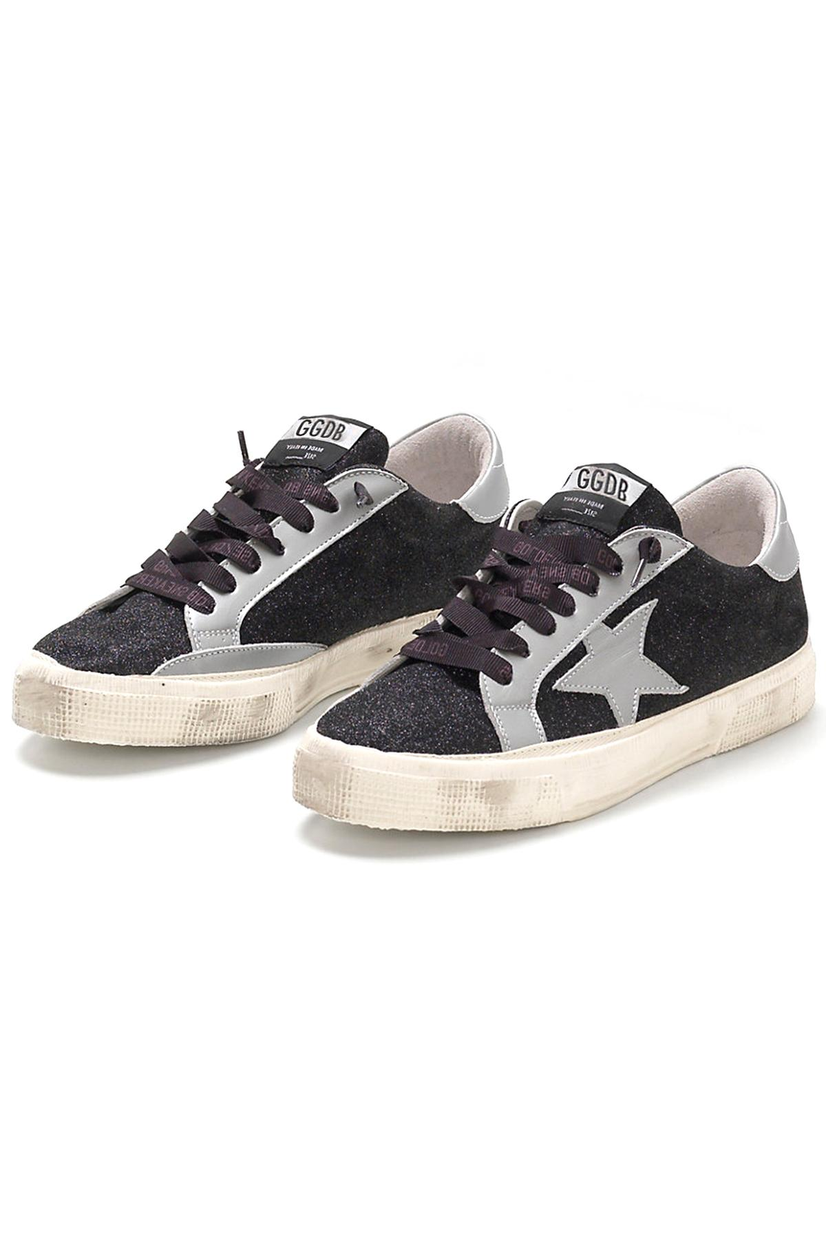 Golden Goose Deluxe Brand Leather May Sneaker in Black Glitter (Black)
