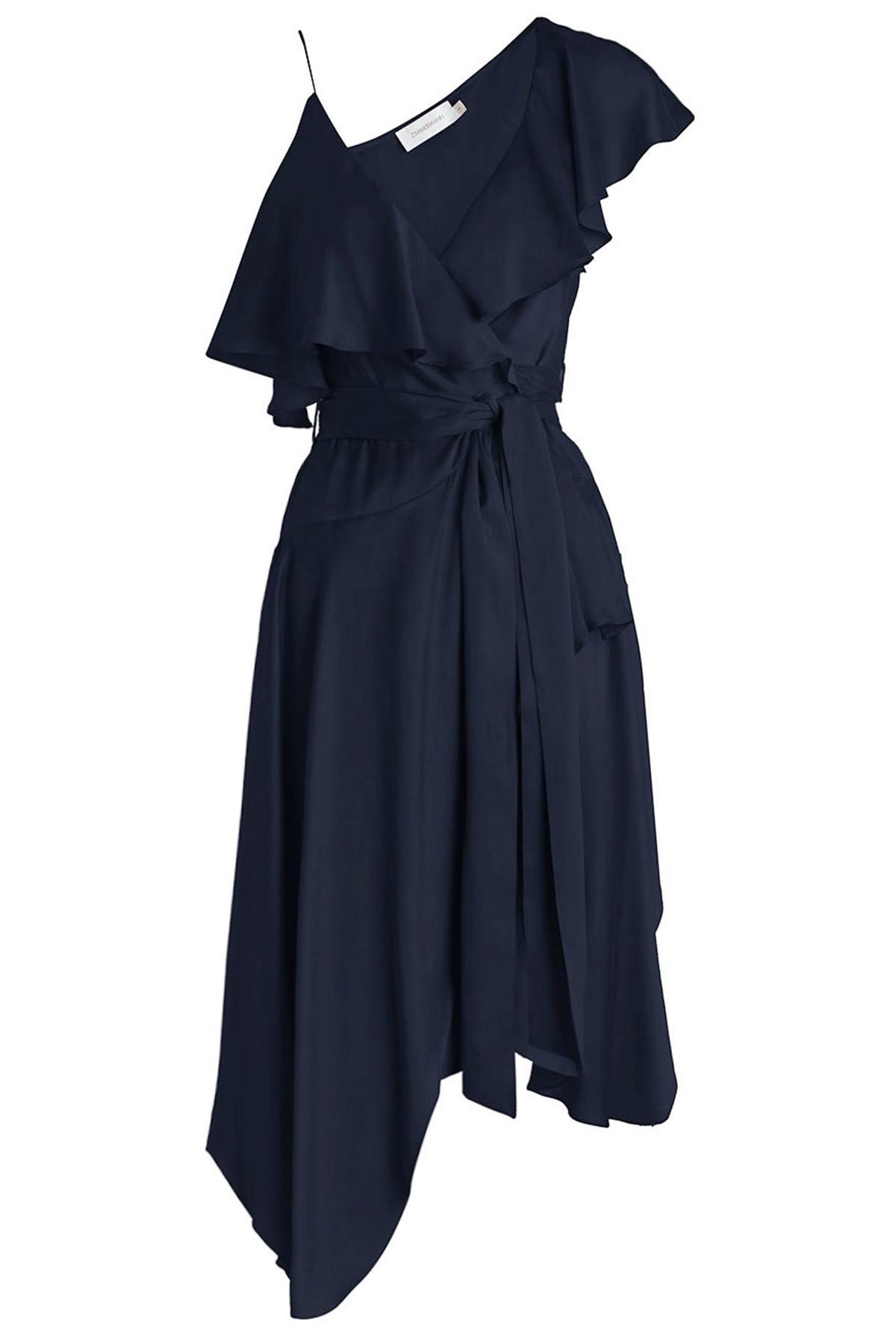 Zimmermann Sueded Asymmetric Wrap Dress In French Navy In