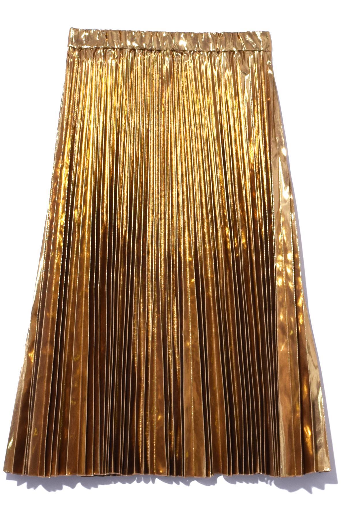 n 176 21 metallic pleated skirt in gold in metallic lyst