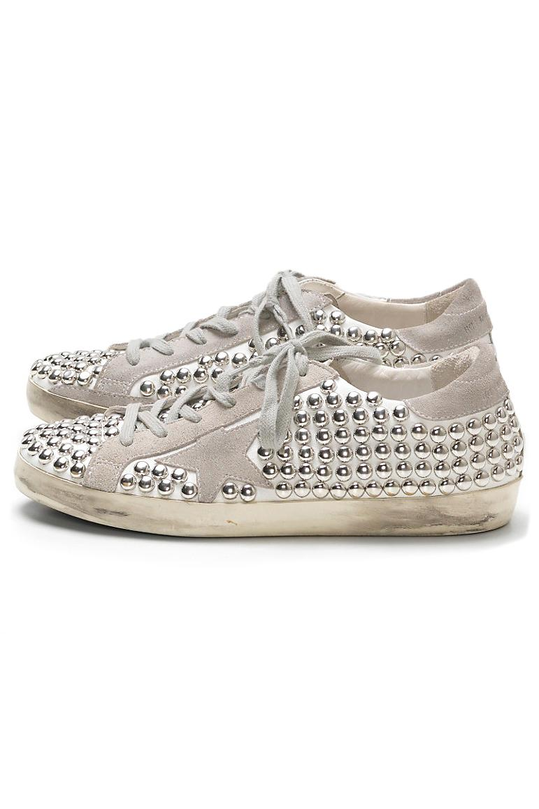 Golden Goose Deluxe Brand Leather Superstar Old Sneaker In White Studs