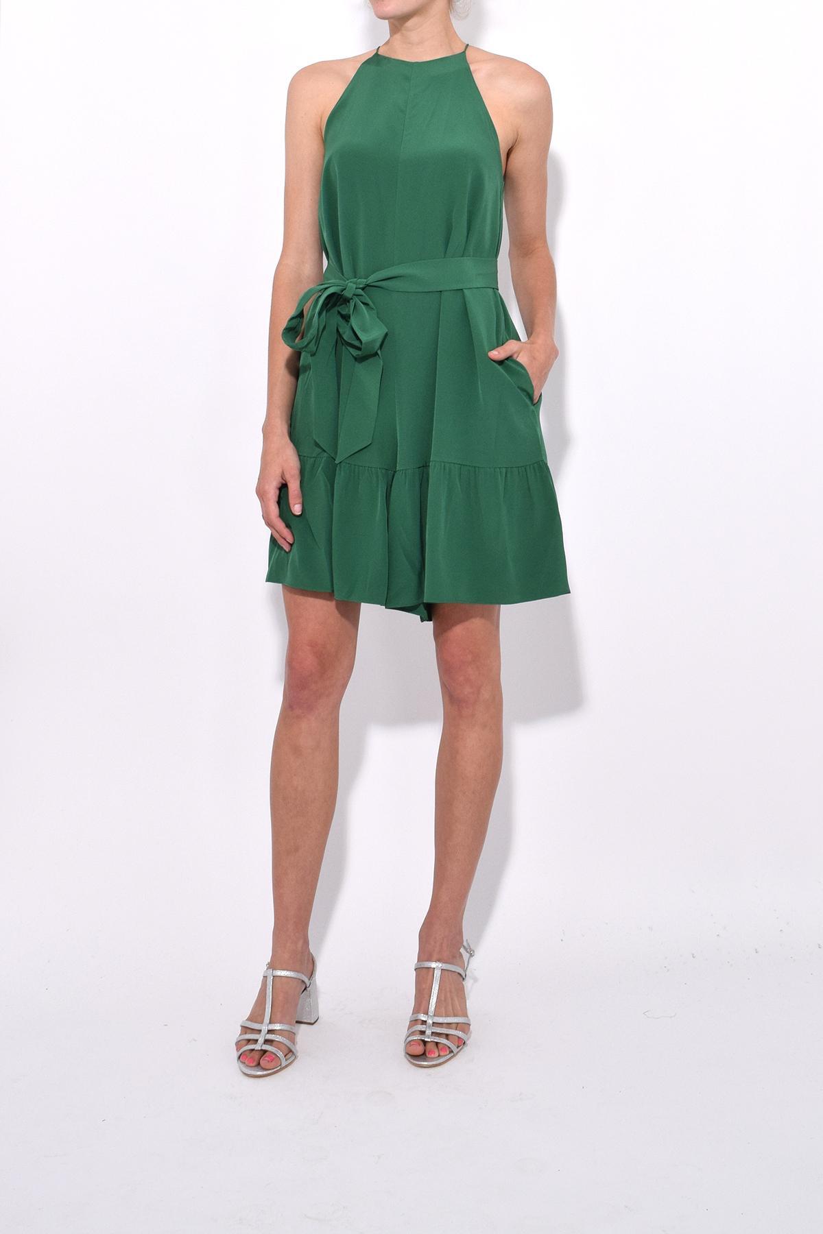 0bc18e2426b Tibi - Green Silk Halter Ruffle Short Jumpsuit - Lyst. View fullscreen