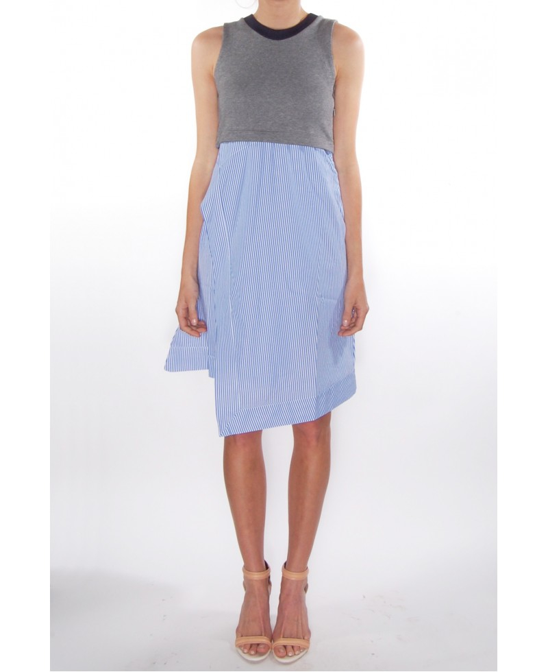 Carven Tank Dress With Striped Skirt In Gray Lyst