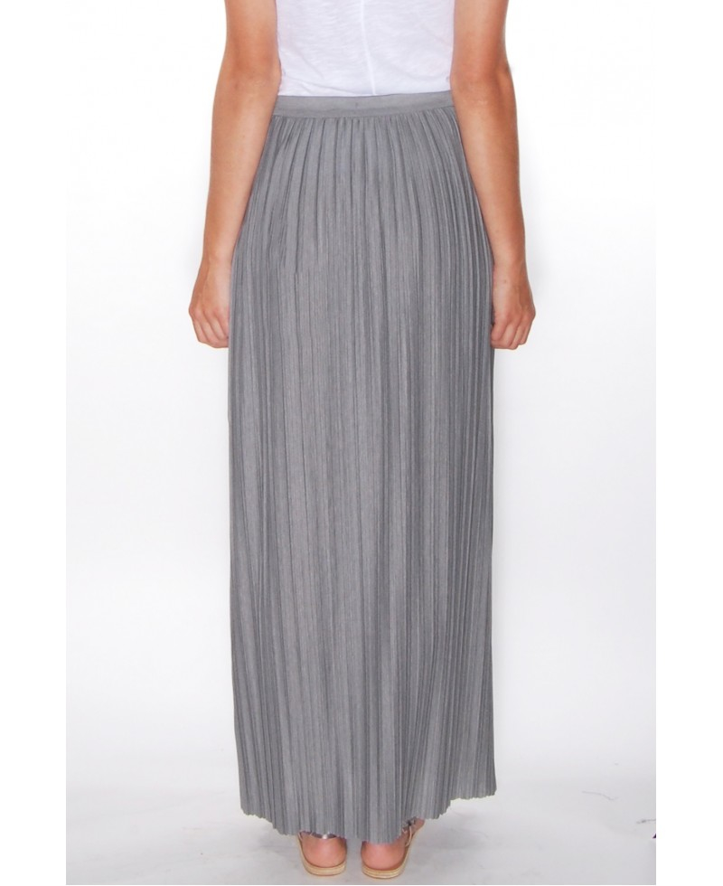 theory osnyo knit pleated skirt in gray lyst