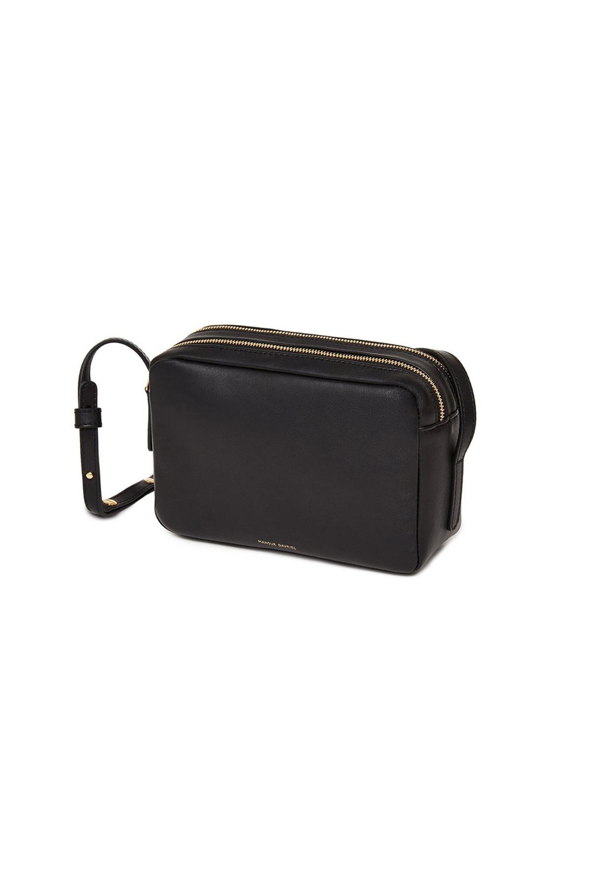 Mansur Gavriel Double Zip Leather Crossbody Bag in Black