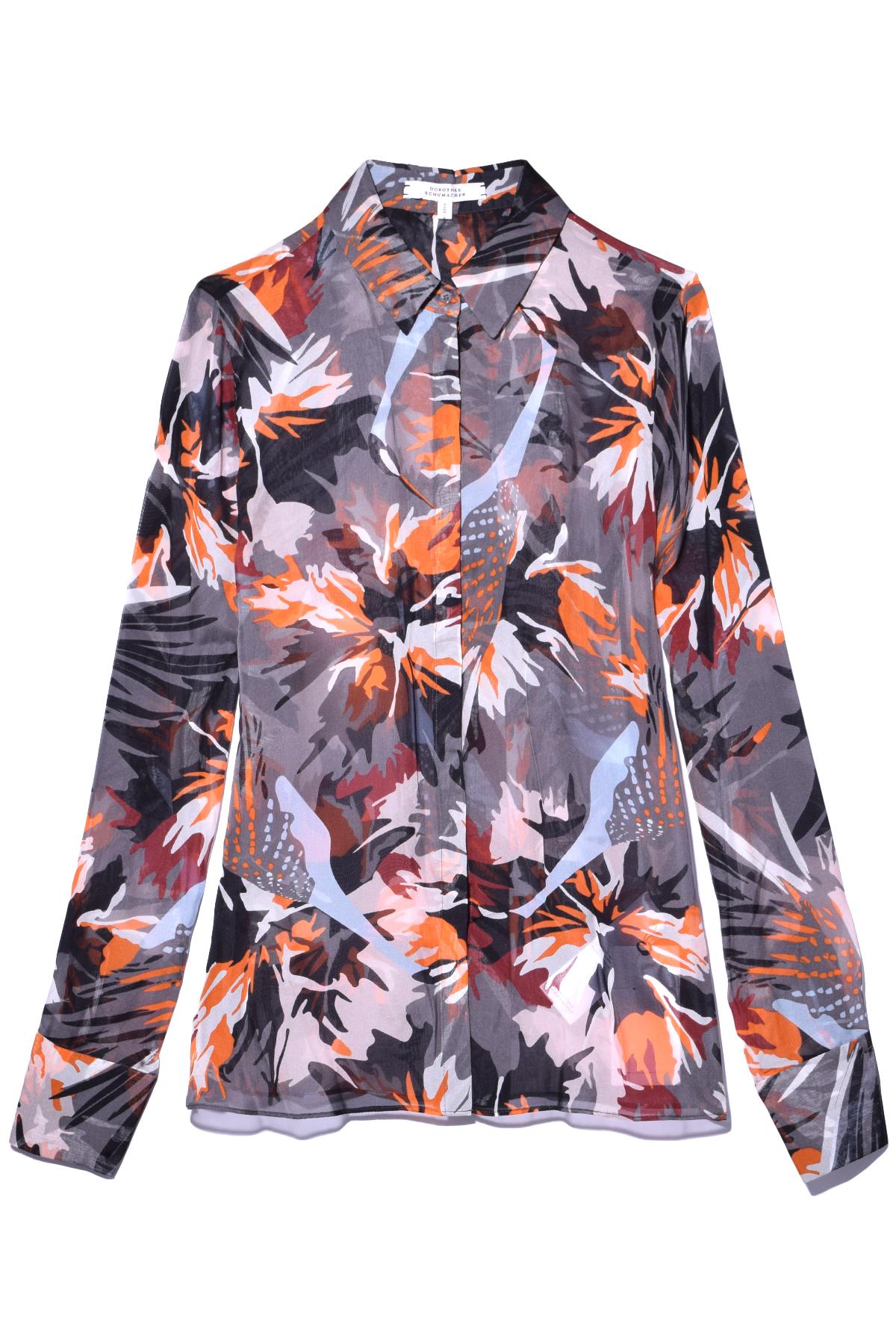 lyst dorothee schumacher wild feathers blouse in wild orange in blue. Black Bedroom Furniture Sets. Home Design Ideas