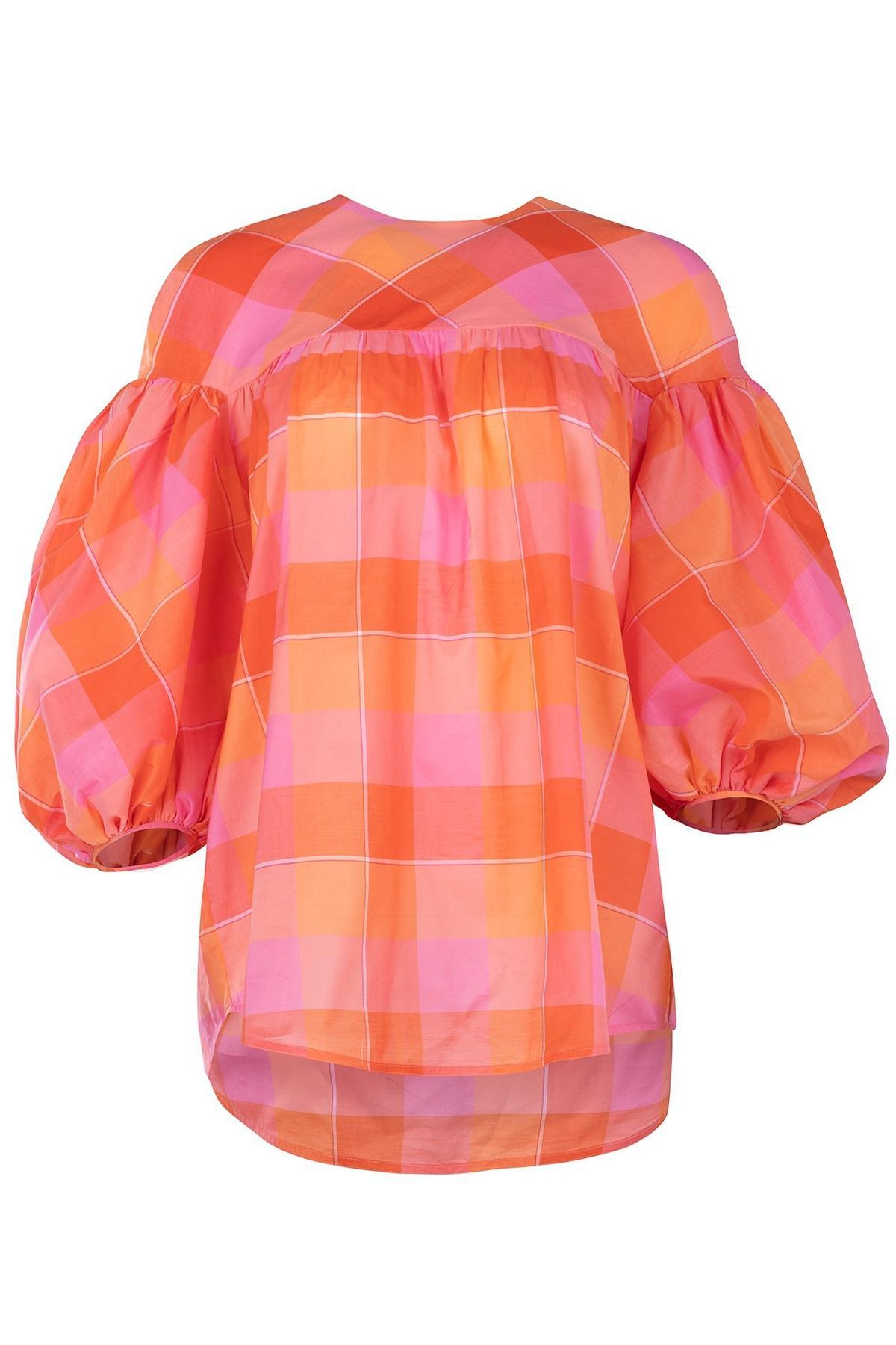 Orange Tcherassi Checkered In Lyst Silvia Led Blouse v67gyYbf