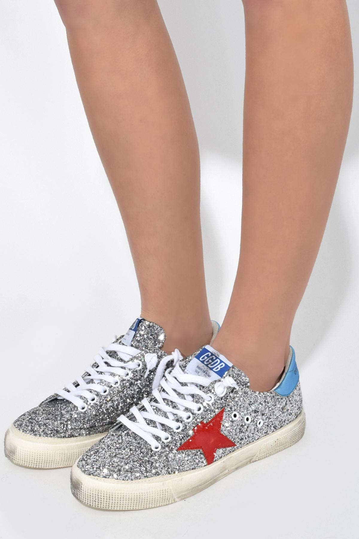 Golden Goose Deluxe Brand Leather May Sneakers In Glitter/red Star