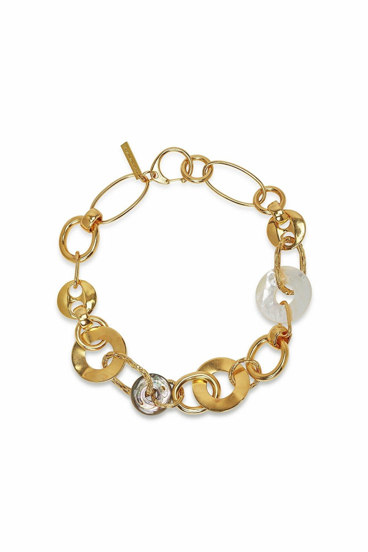 Solstice Womens Brass Circle Necklace G