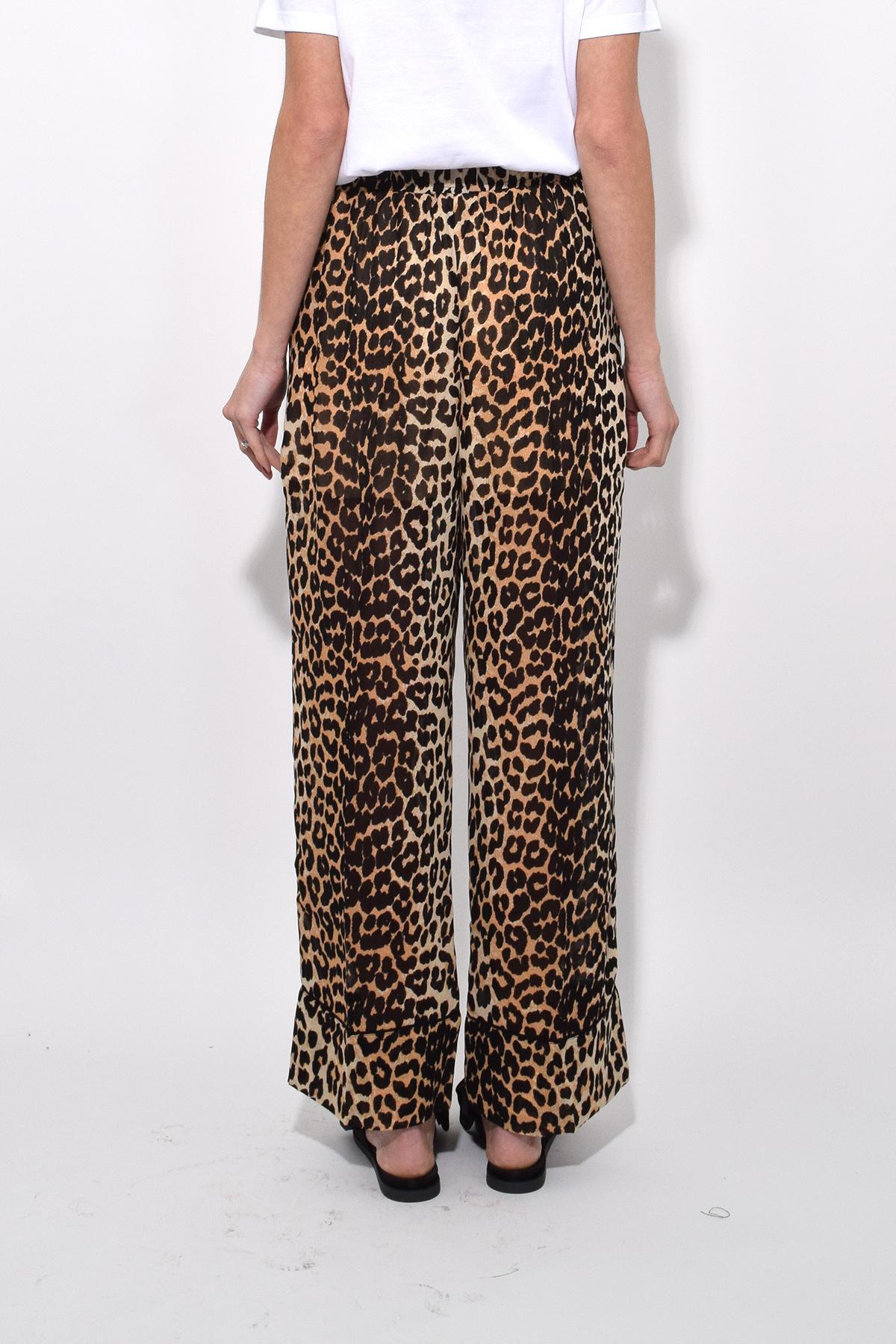 24b0dc41 Ganni Fairfax Georgette Pants In Leopard - Lyst