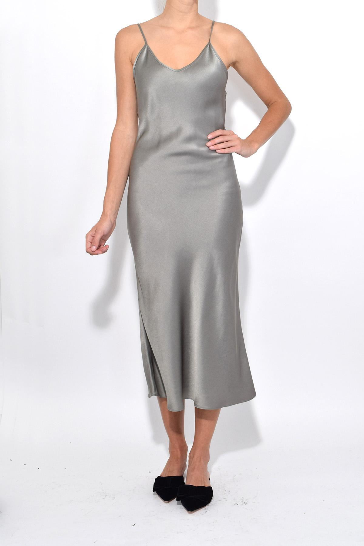 best place sleek best service Protagonist Synthetic Classic Slip Dress In Dove Grey in Gray - Lyst
