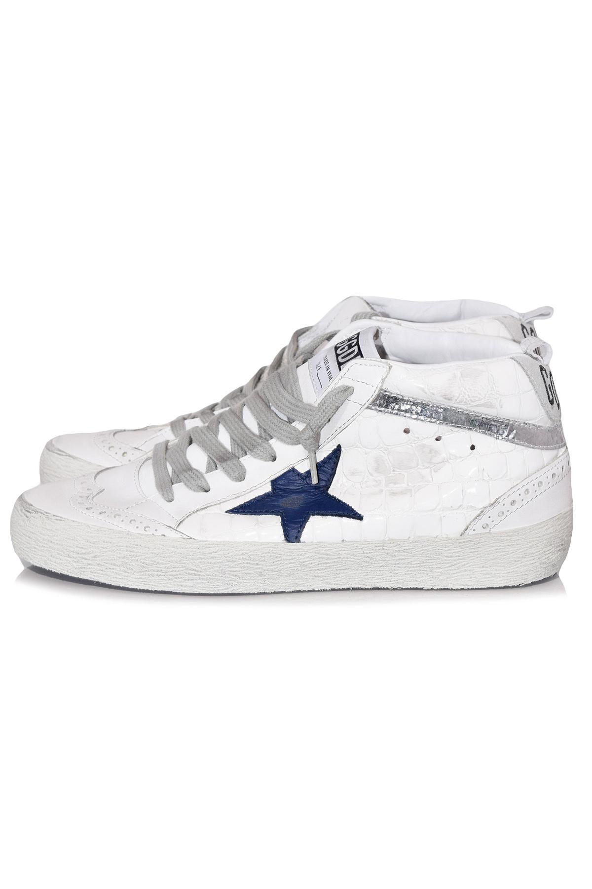 Mid Star Sneaker In White Shiny Croc