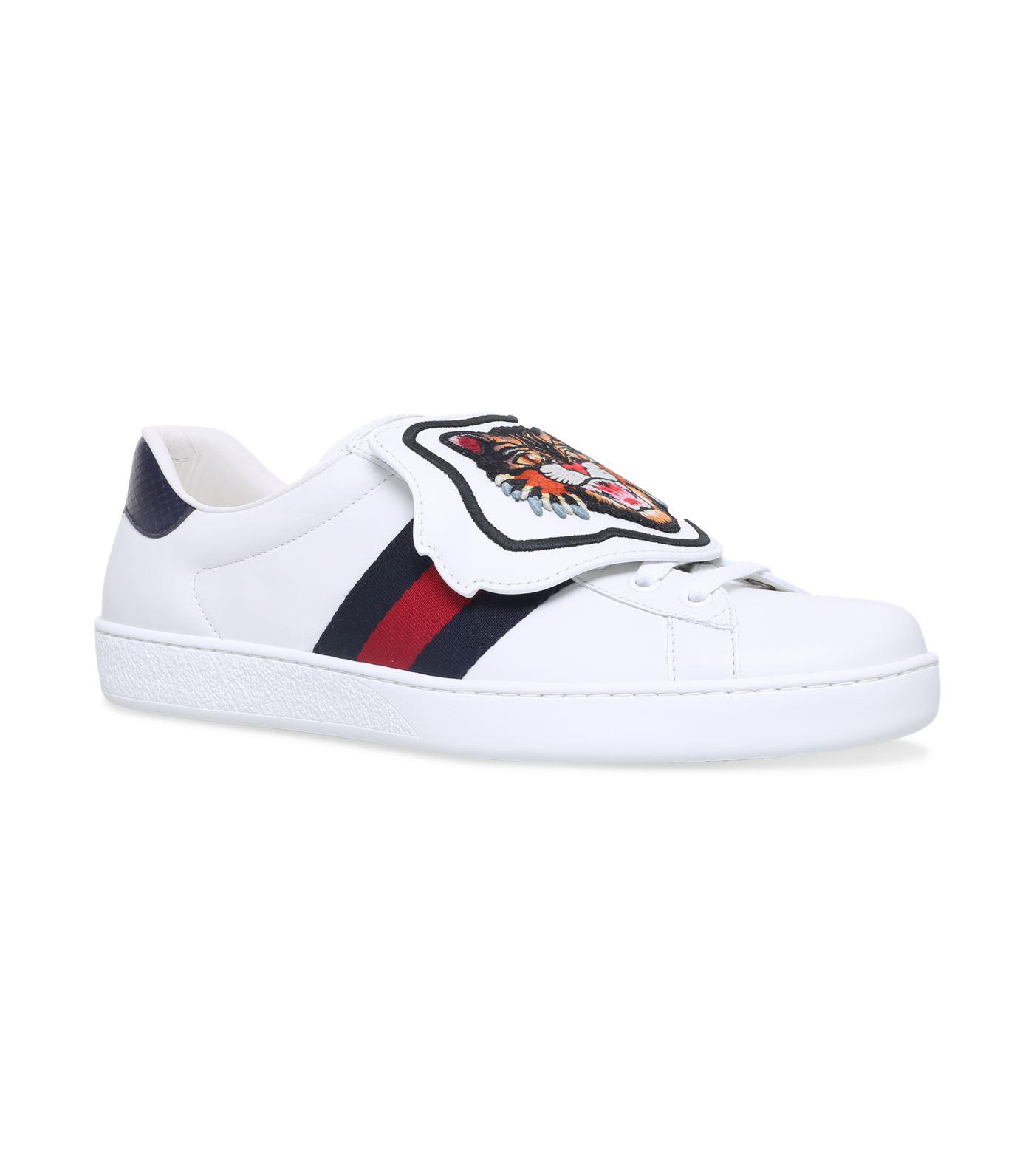6d714ff2876 Lyst - Gucci New Ace Tiger Patch Sneakers in White for Men