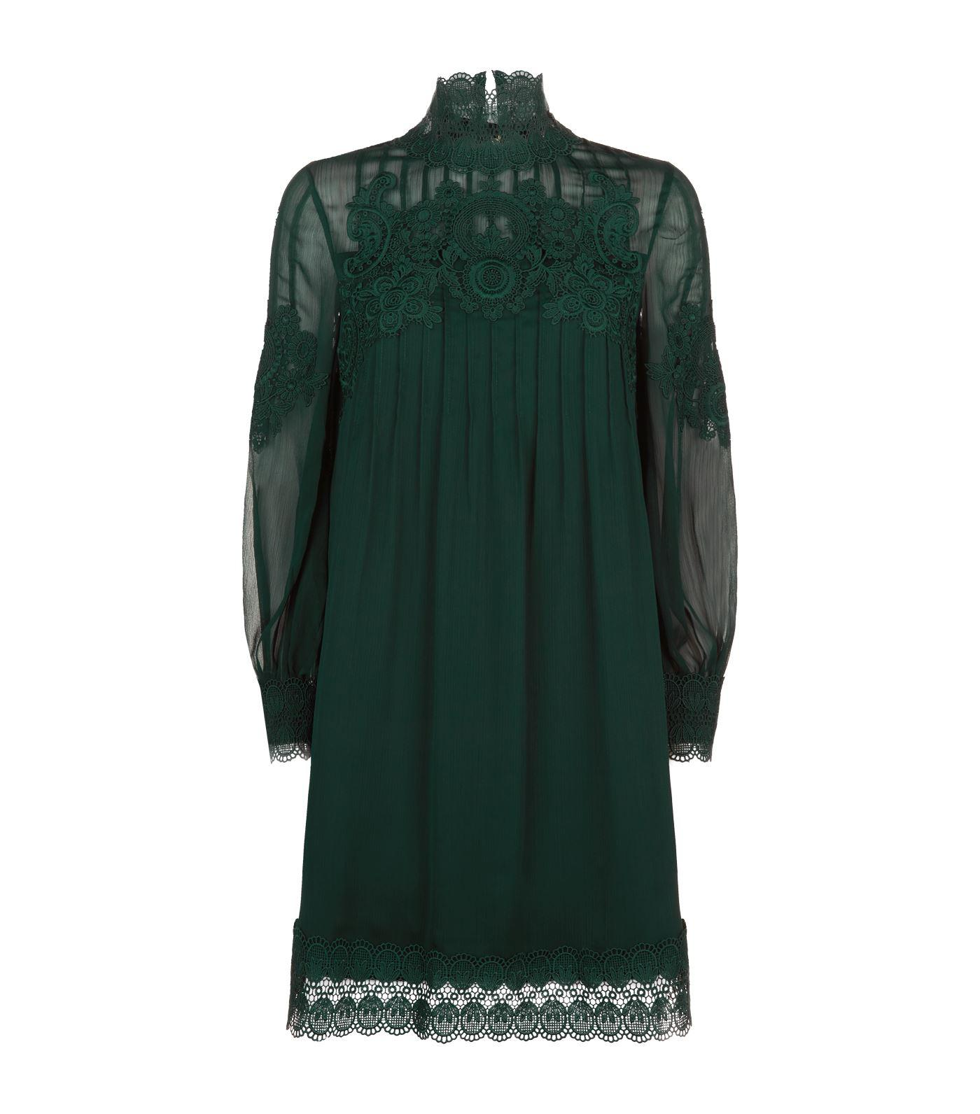 729f7fe598ea Ted Baker Anneah Lace High Neck Tunic in Green - Lyst