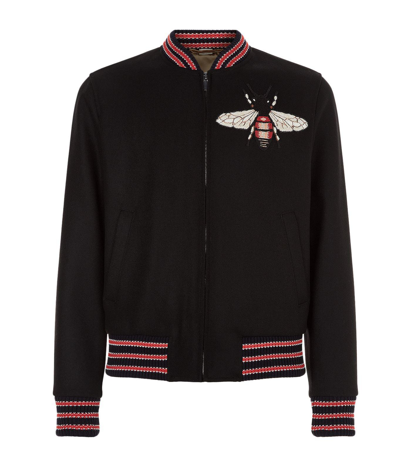 74c90688e Gucci Embroidered Bumble Bee Jacket in Black - Lyst