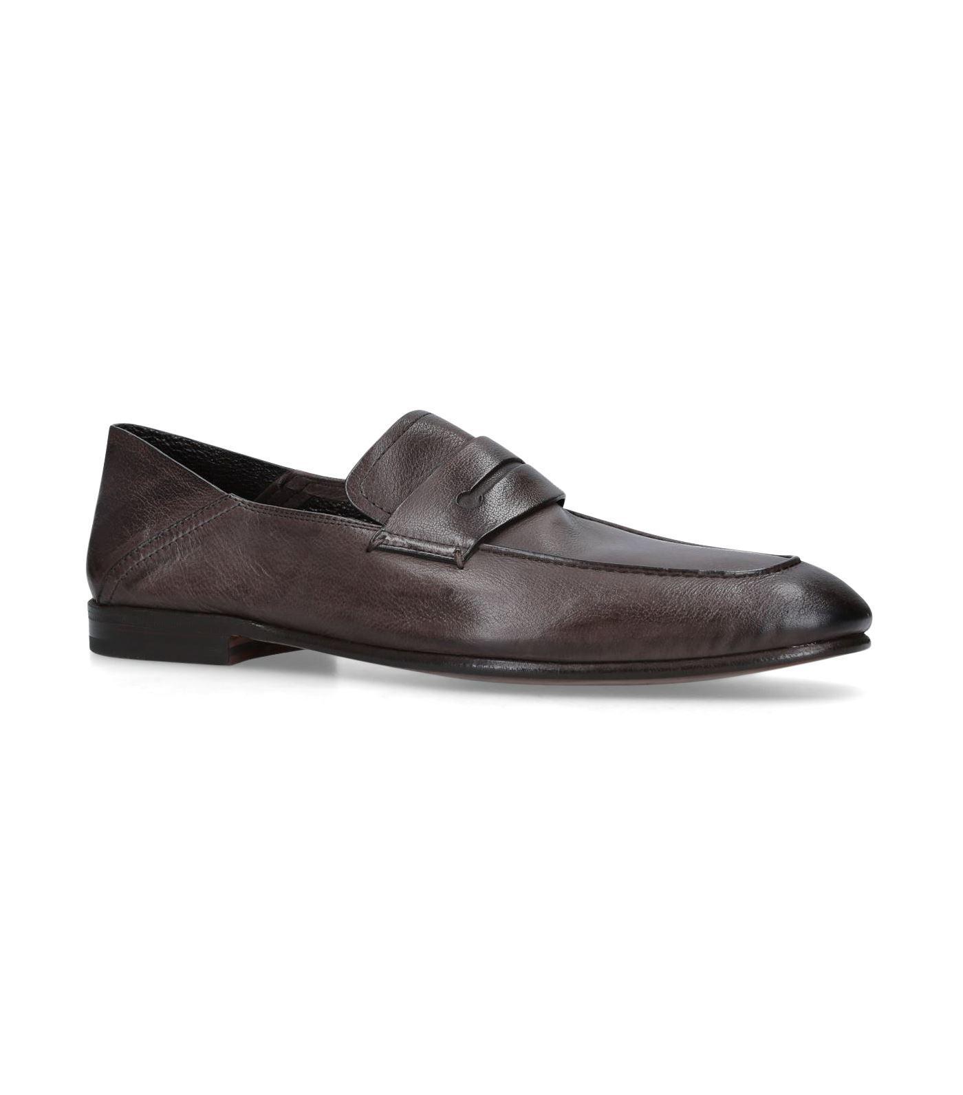 4a7a4a14e00 Ermenegildo Zegna Leather Asola Penny Loafers in Brown for Men ...