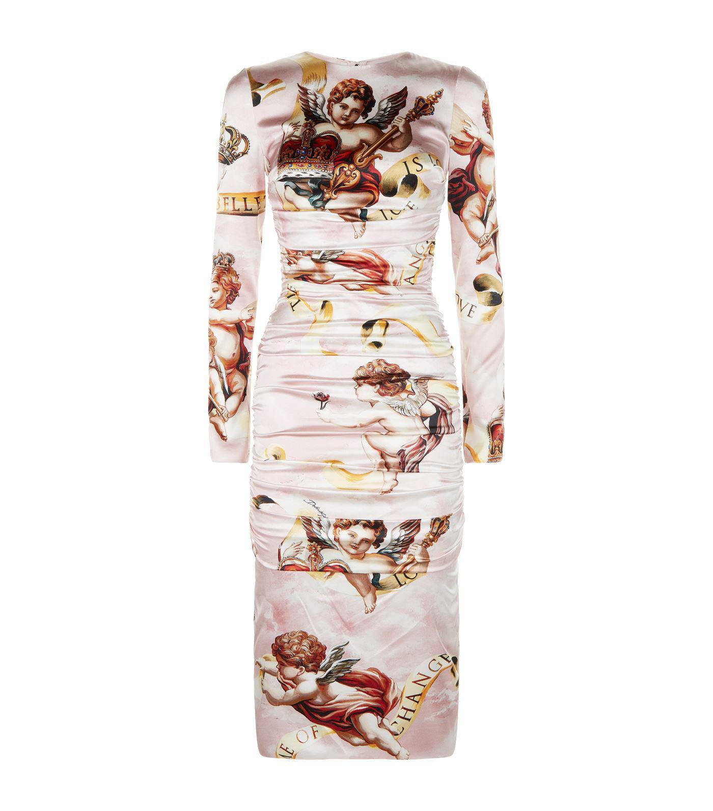2f3cc4529603 Dolce & Gabbana Cherub Print Satin Midi Dress - Lyst