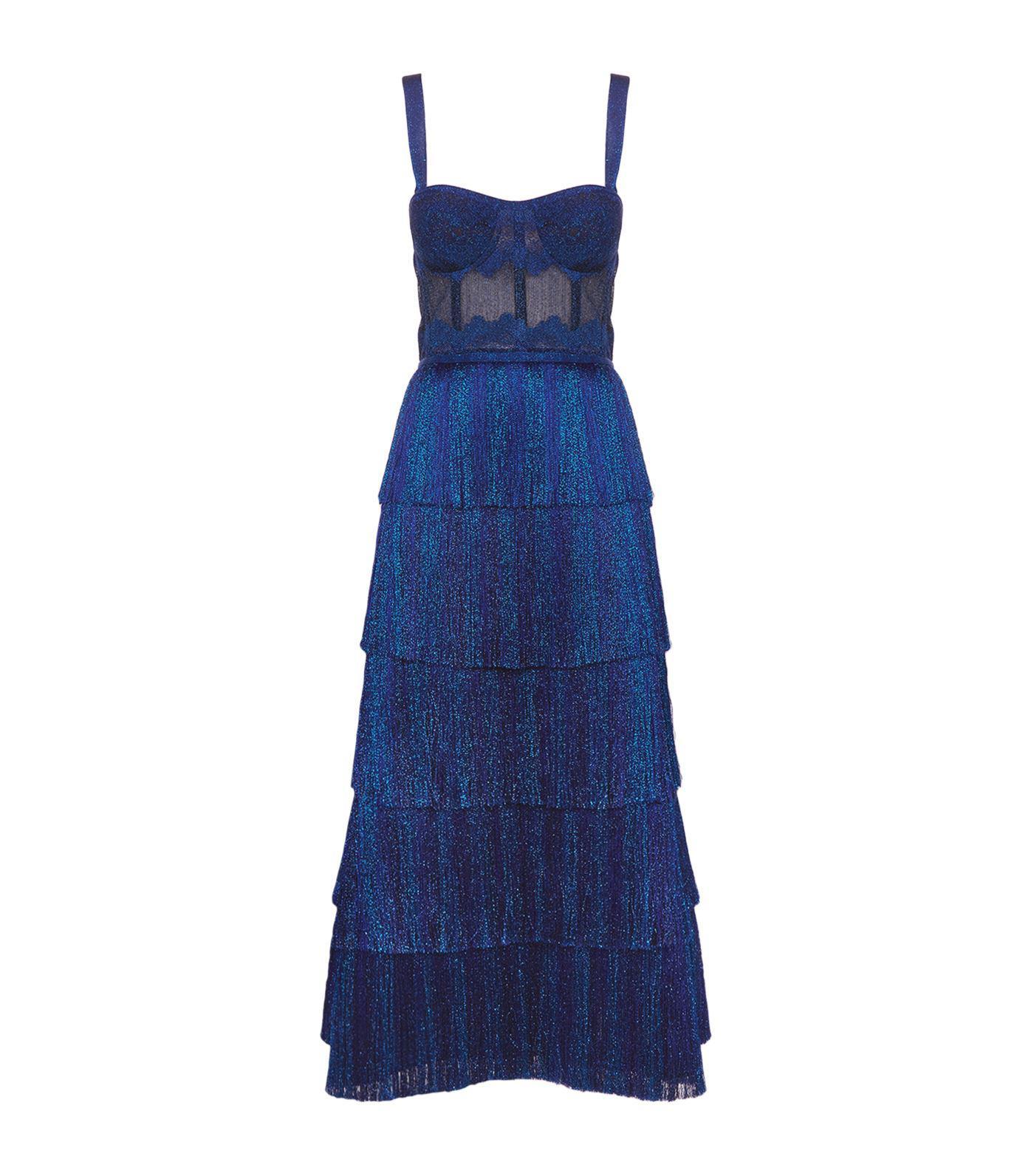 Lyst - Missoni Lurex Fringed Bustier Gown in Blue - Save 6%