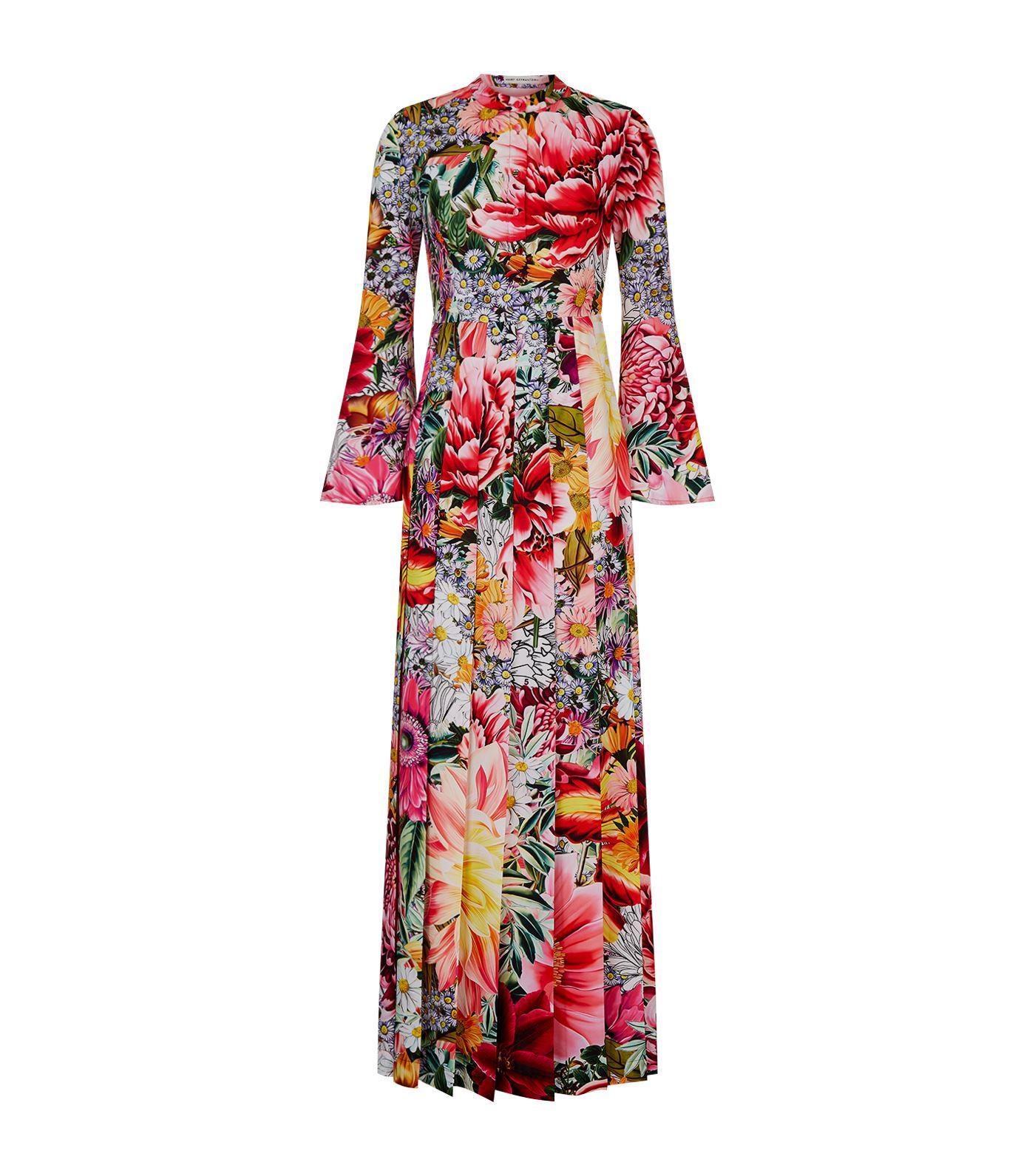 Desmine Pleated Floral-print Crepe De Chine Gown - Fuchsia Mary Katrantzou EEOwRg6G1W