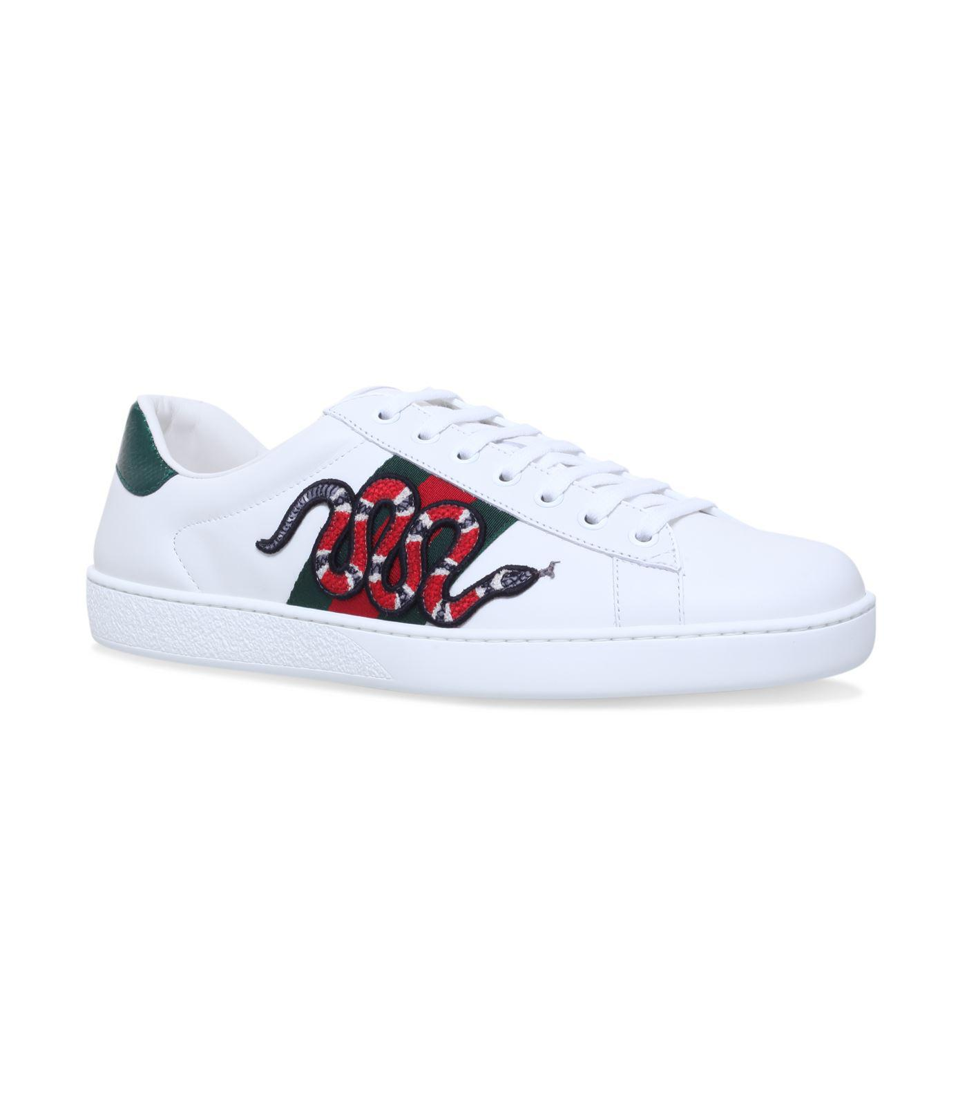 ce9c6085e74 Gucci Appliqu New Ace Sneakers in White for Men - Lyst