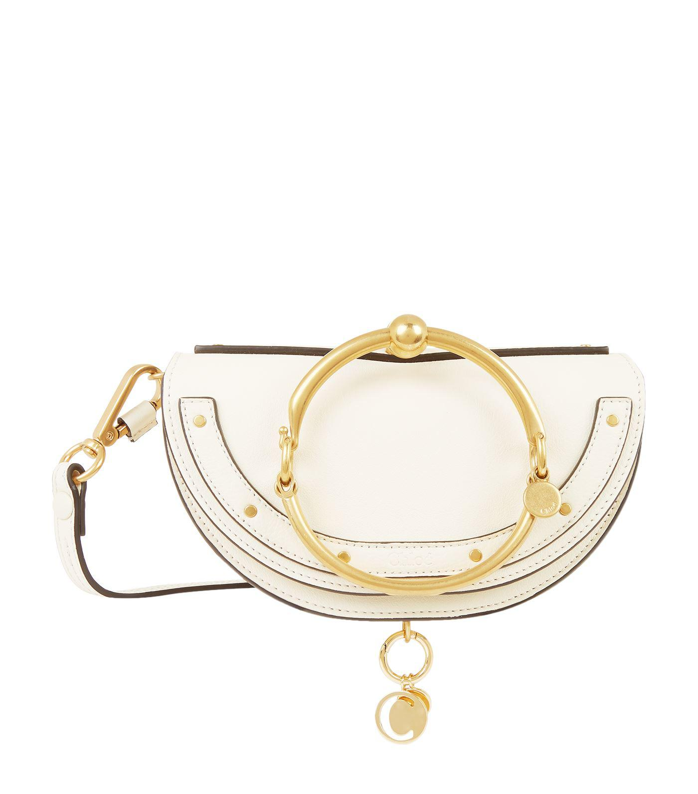 d93b7da22fd2f Lyst - Chloé Mini Leather Nile Bracelet Bag in White