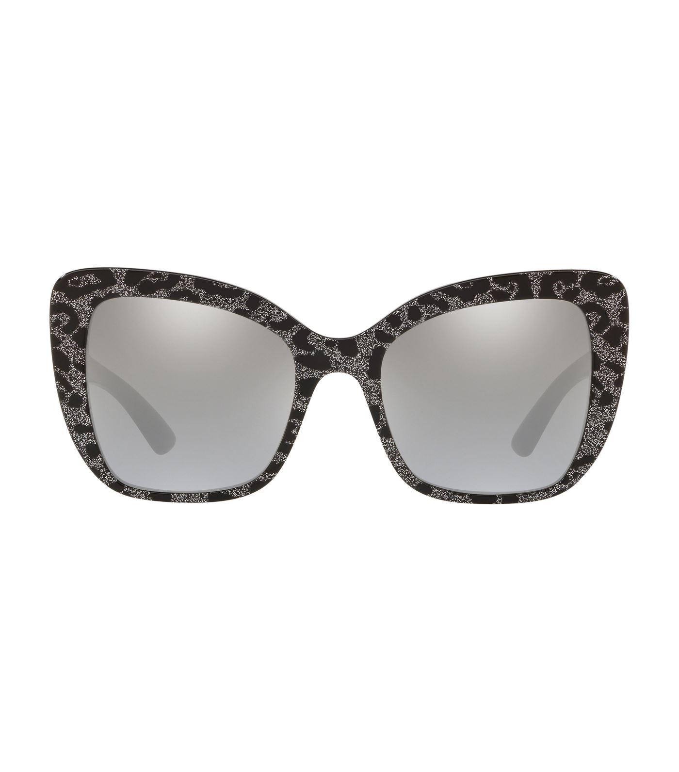feb7c139941e Dolce & Gabbana Leopard Print Butterfly Sunglasses in Black - Lyst