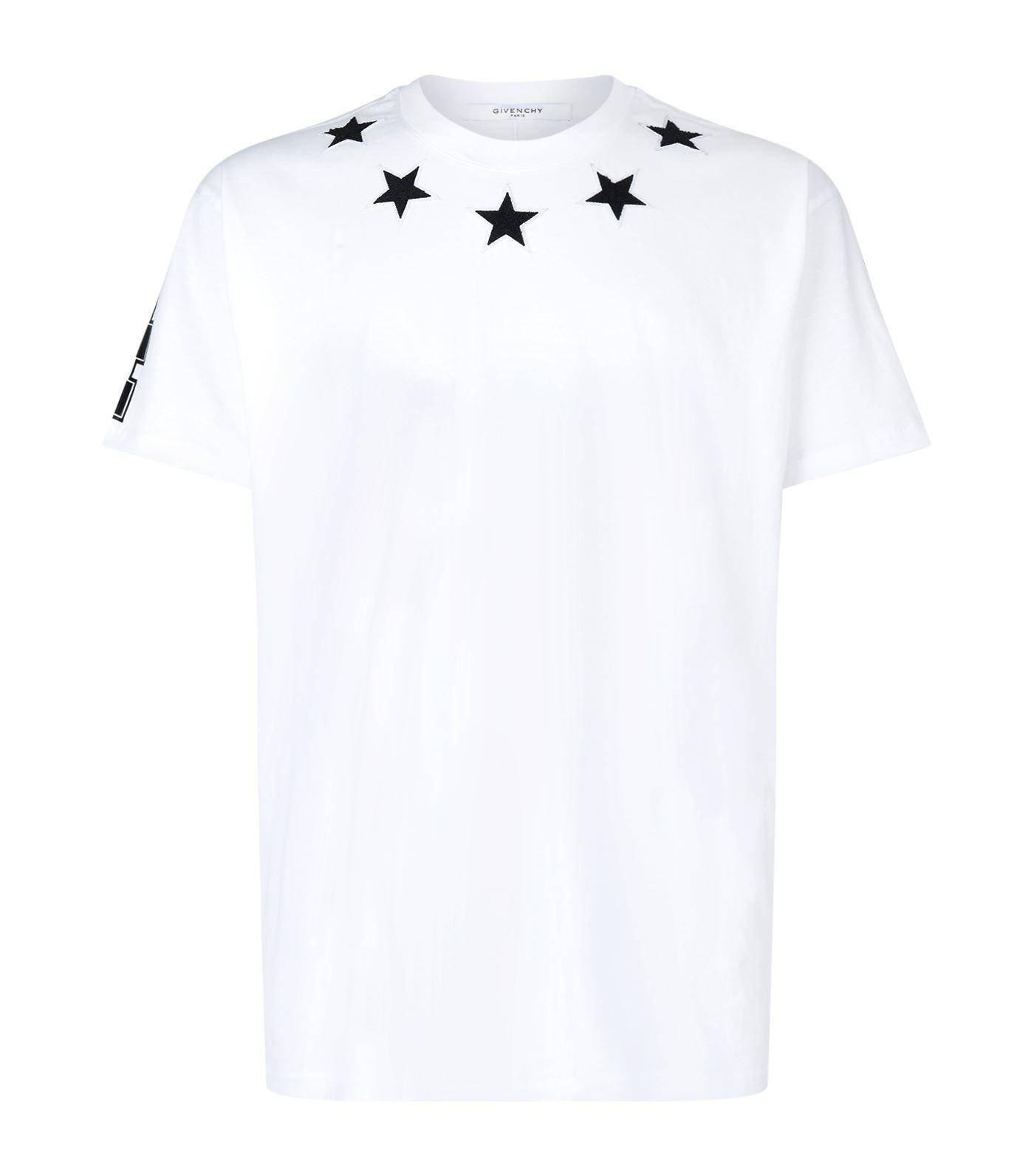 Lyst givenchy star trim t shirt in black for men for Givenchy t shirt man