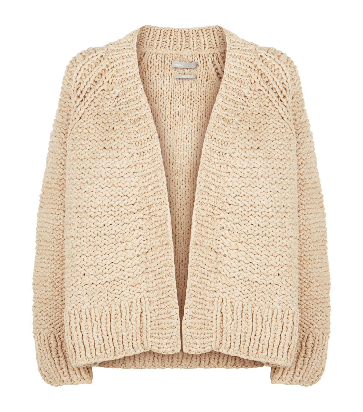 Vince Chunky Knit Cardigan in Brown | Lyst