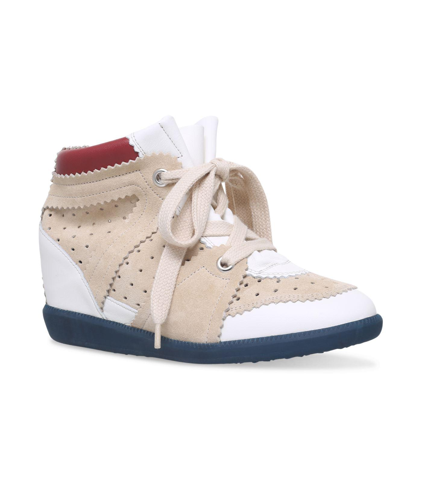 50464f04e36 Isabel Marant Leather Betty Wedge Sneakers 50 in White - Lyst